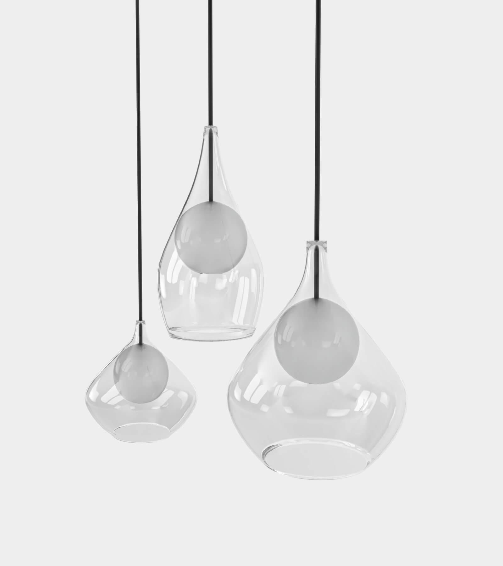 Round glass pendant light 2- 3D Model