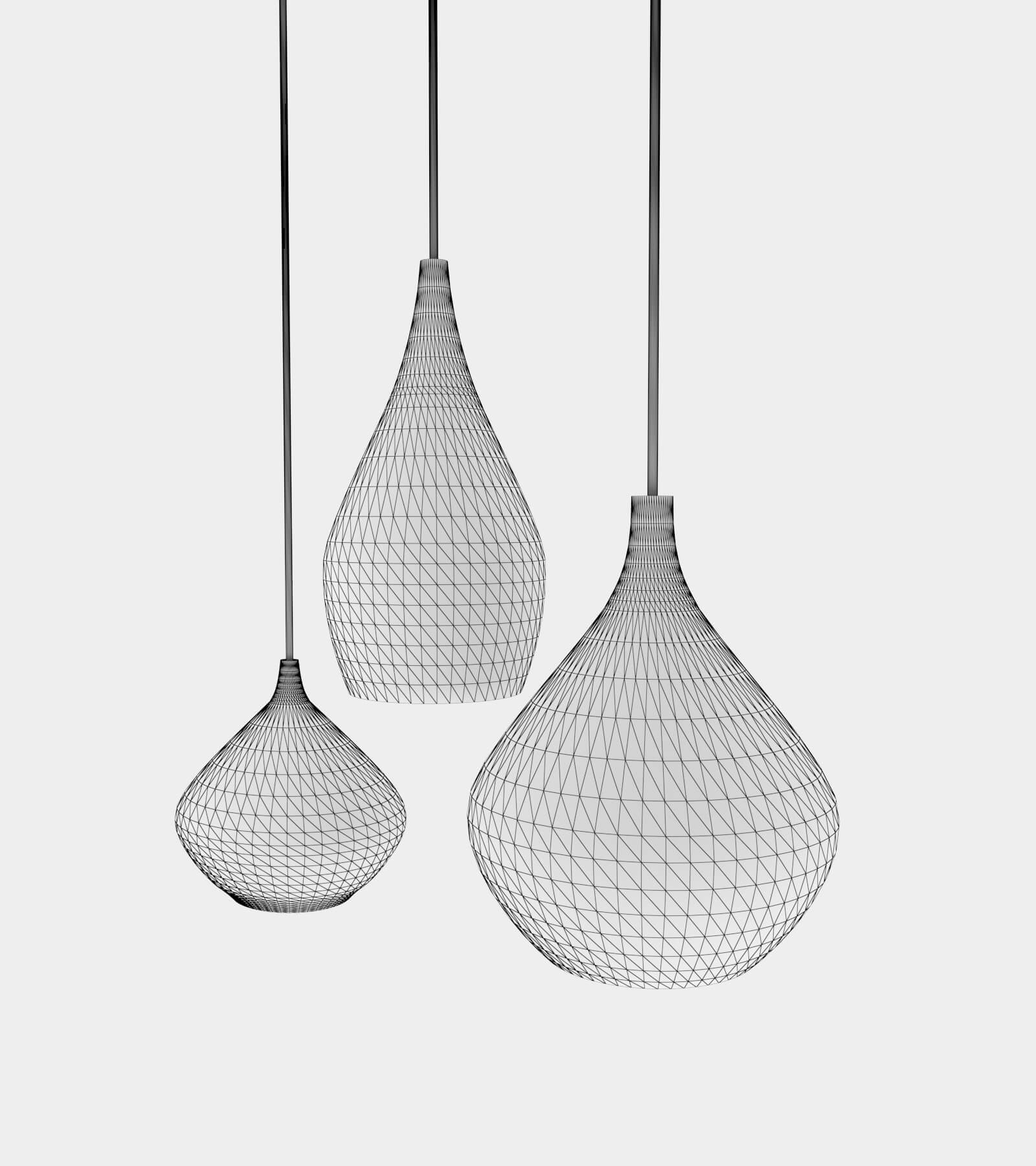 Round glass pendant light-wire-21 3D Model