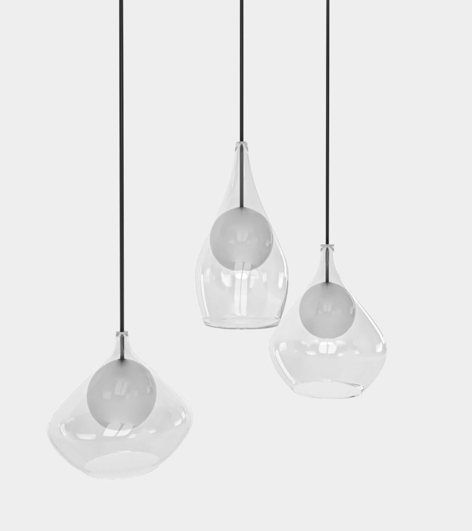 Round glass pendant light- 3D Model