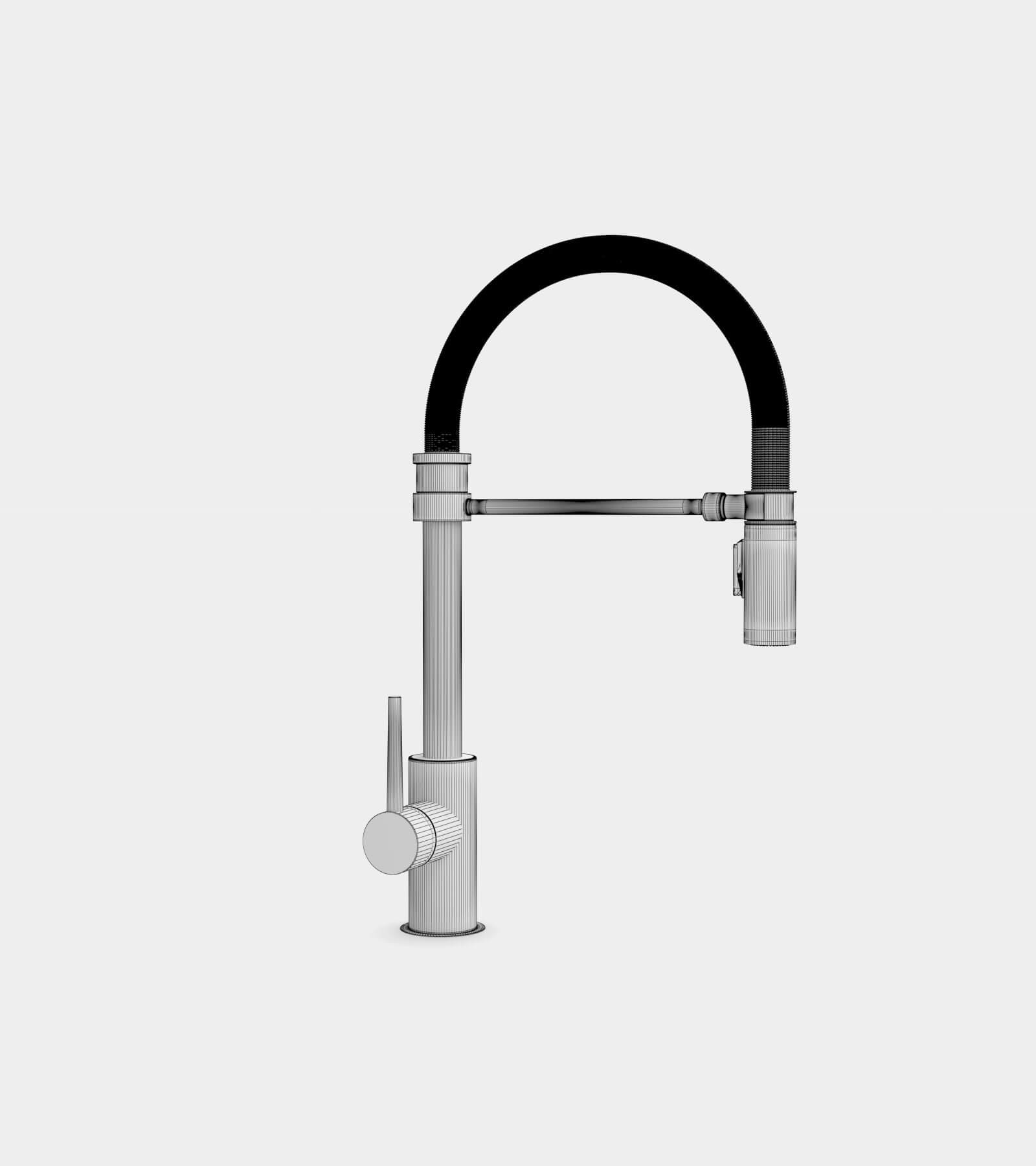 Single handle pull-down faucet for kitchen-wire-2 3D Model
