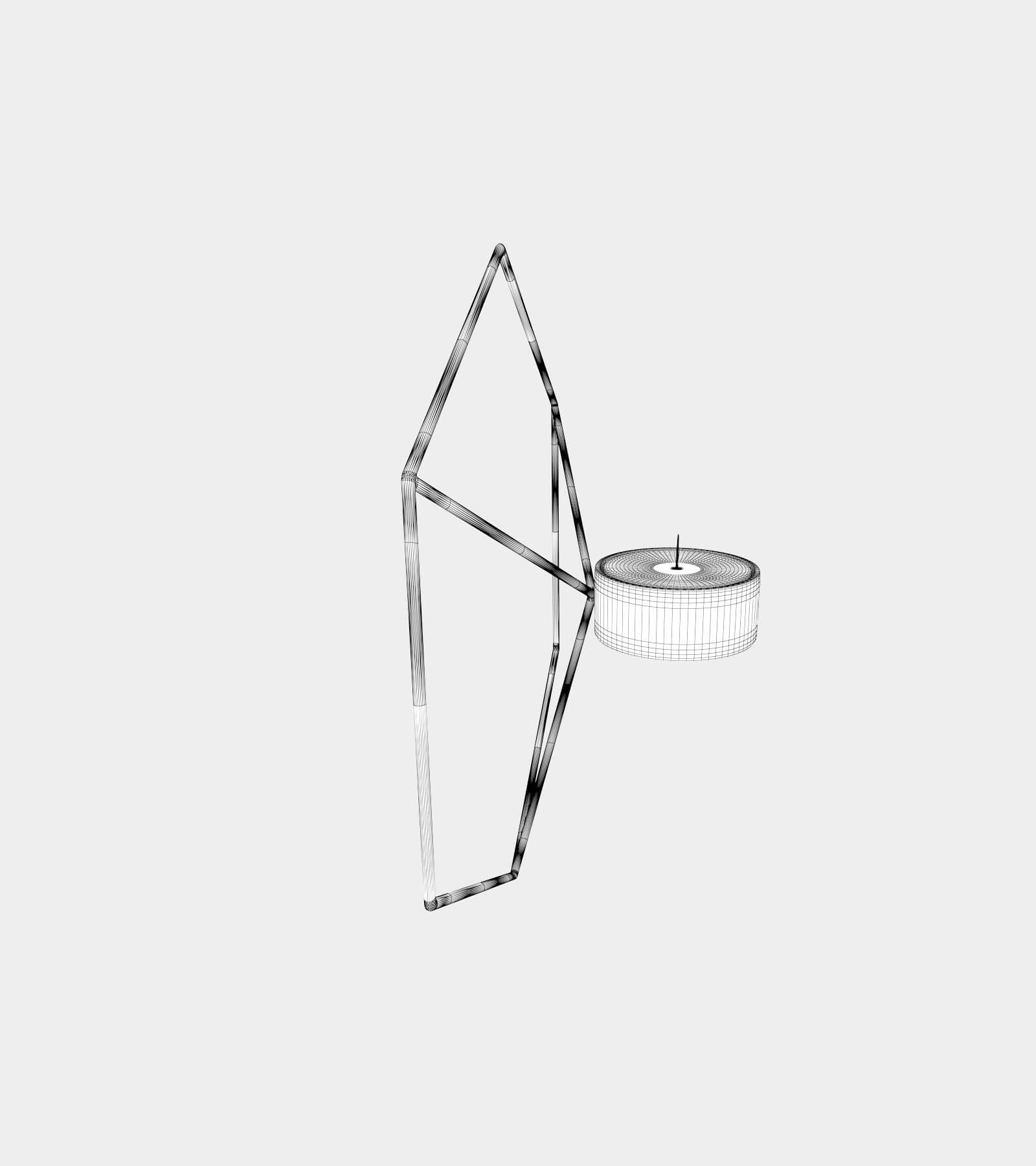Wall metal candle holder-wire-1 3D Model