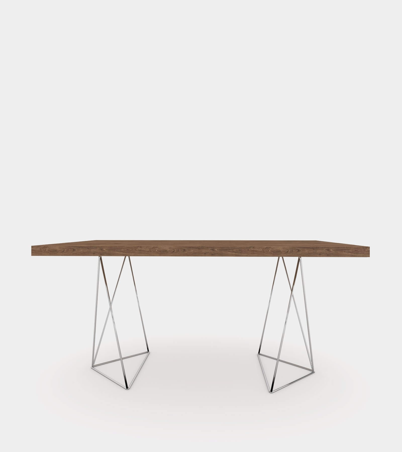 Walnut dining table with chrome legs-2- 3D Model