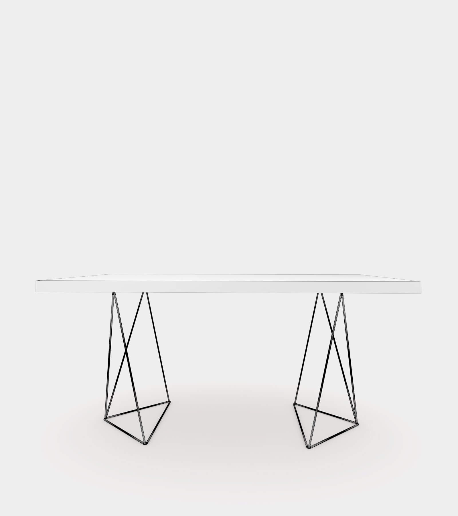 Walnut dining table with chrome legs-wire-21 3D Model