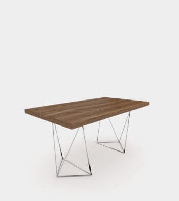 Walnut dining table with chrome legs1- 3D Model
