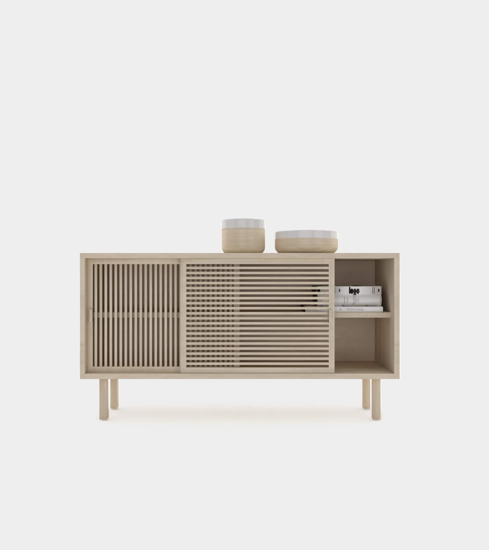 Wooden sliding door sideboard-1 - 3D Model