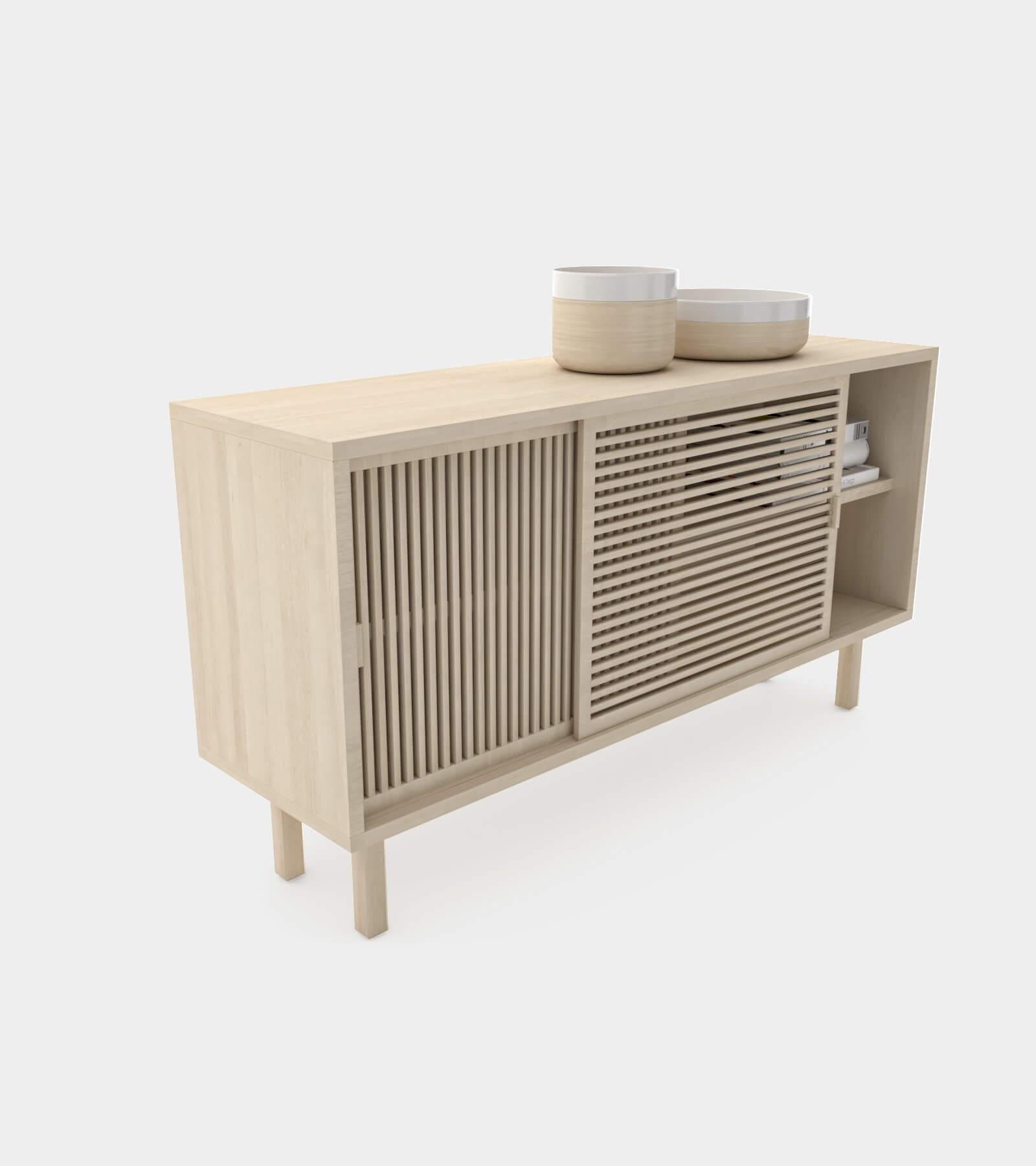Wooden sliding door sideboard-2 - 3D Model
