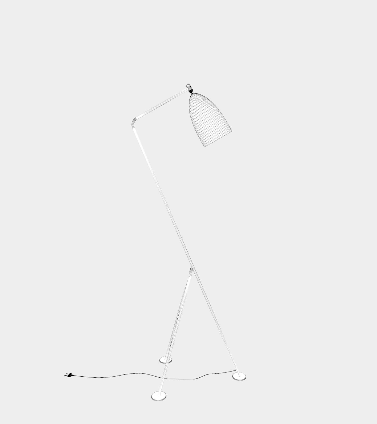 Anthracite floor lamp-wire-1 3D Model