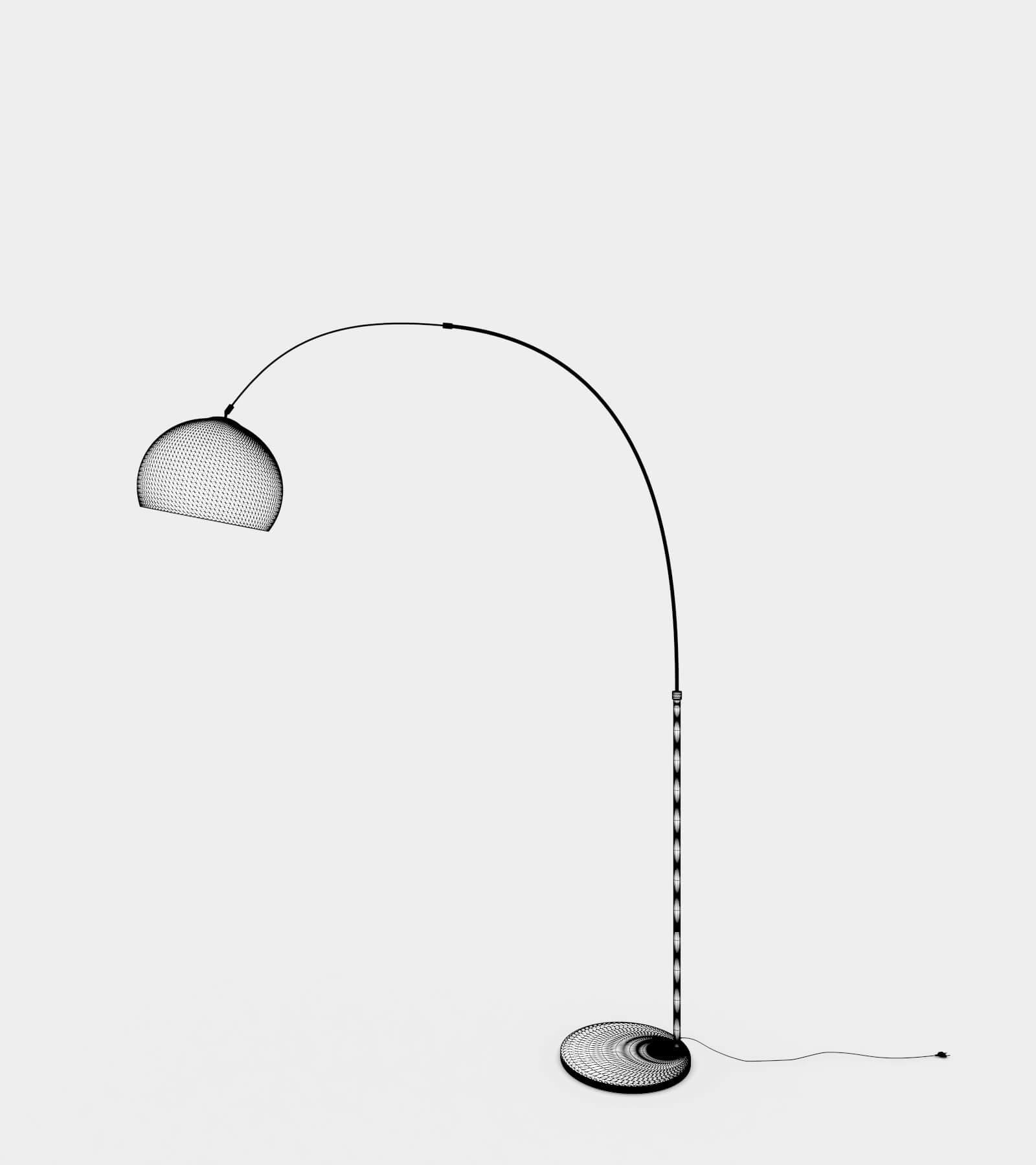 Arc living floor lamp-wire-1 3D Model