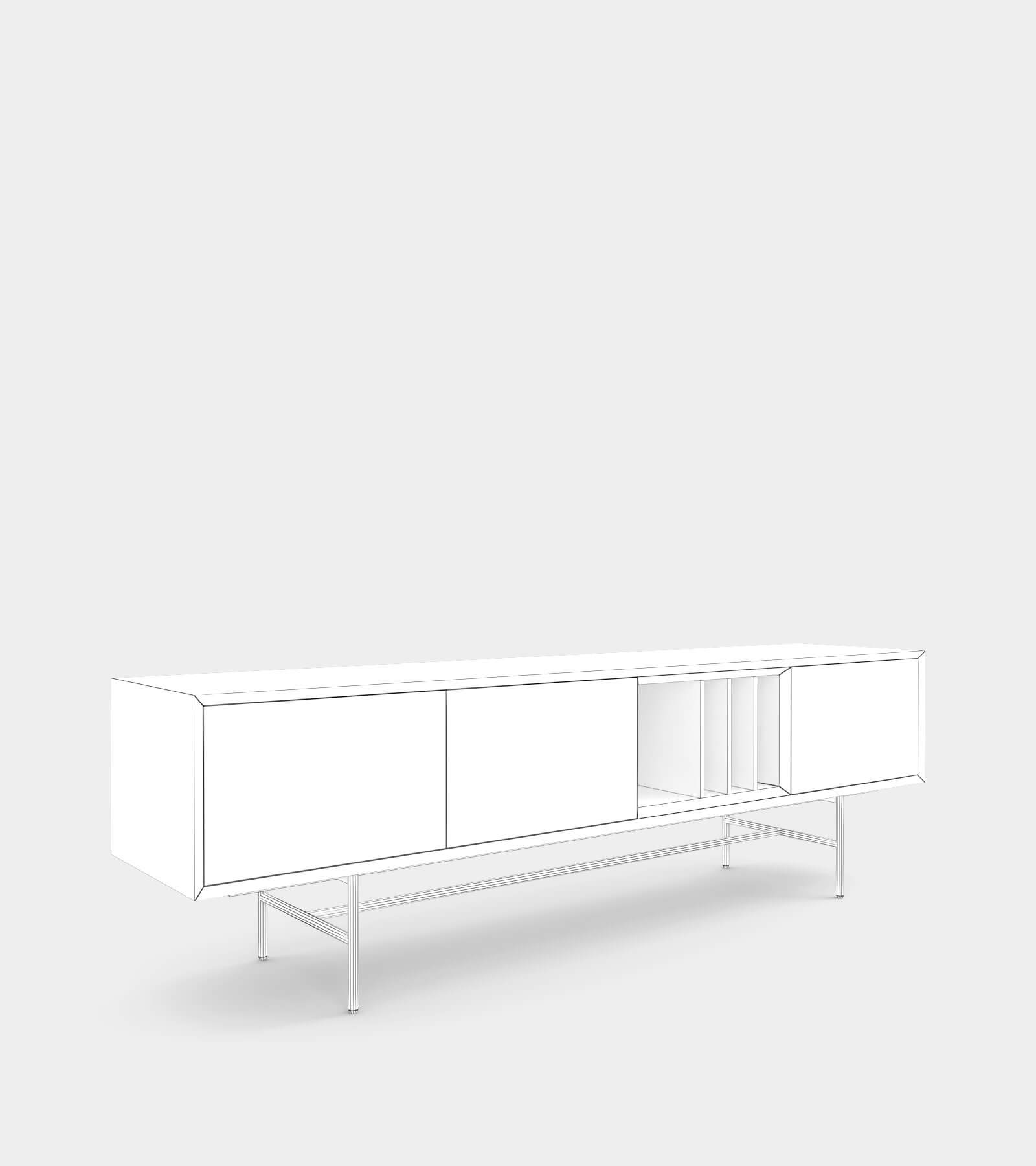 Clean and modern sideboard with wood frame-1-wire 3D Model
