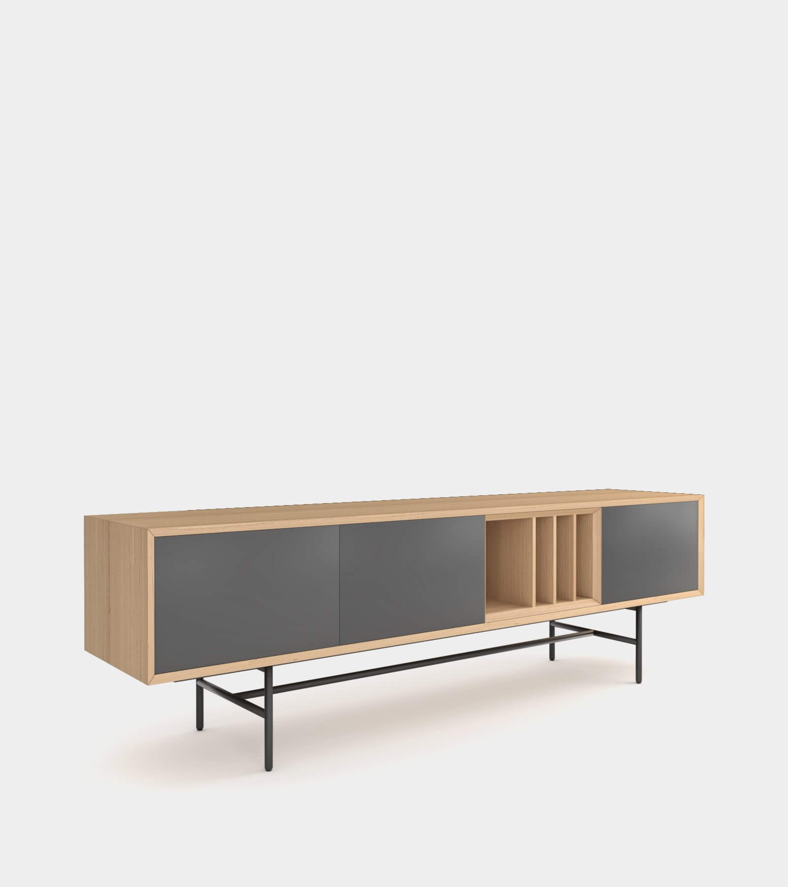 Clean and modern sideboard with wood frame-1 3D Model