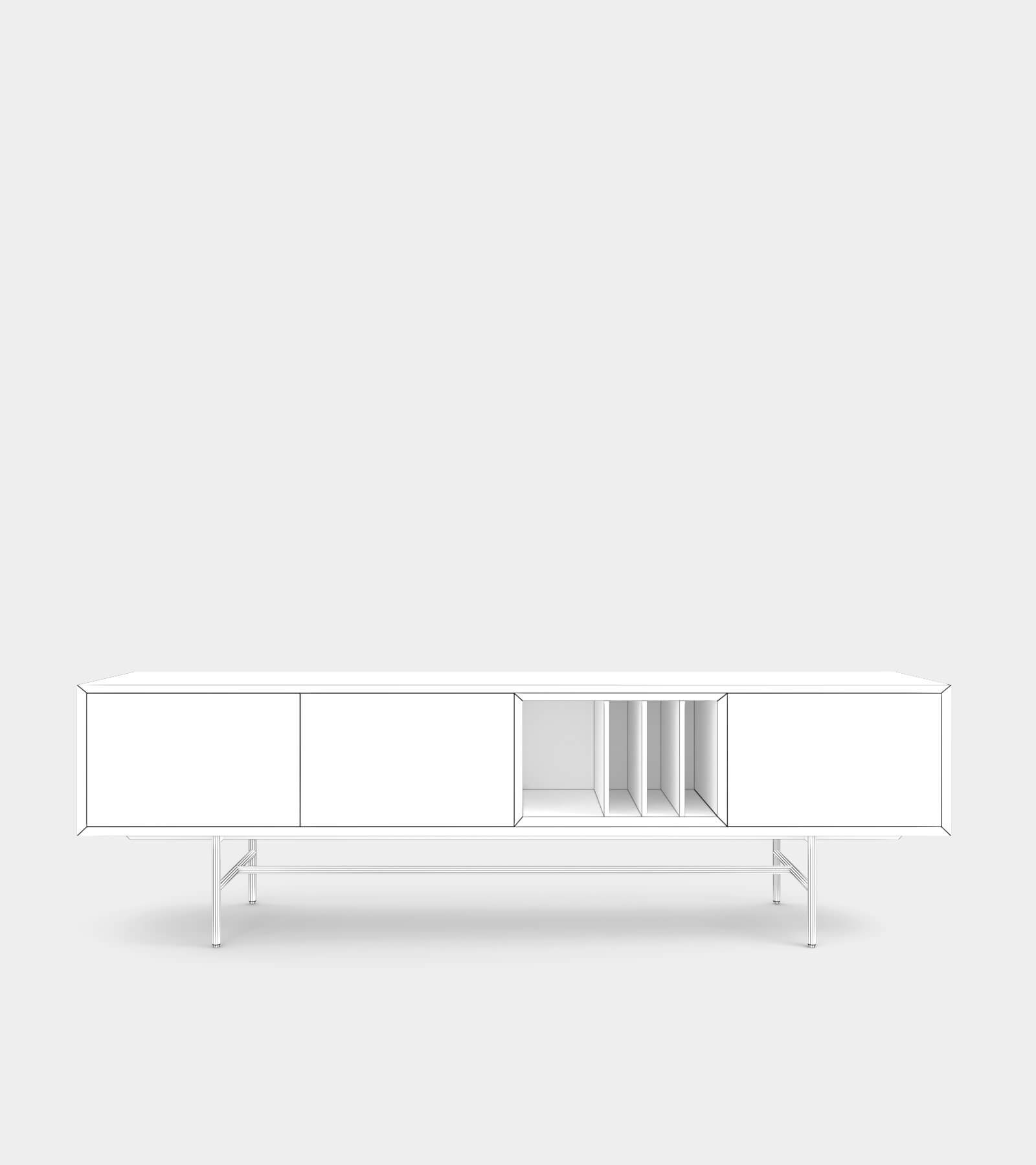 Clean and modern sideboard with wood frame-2-wire 3D Model