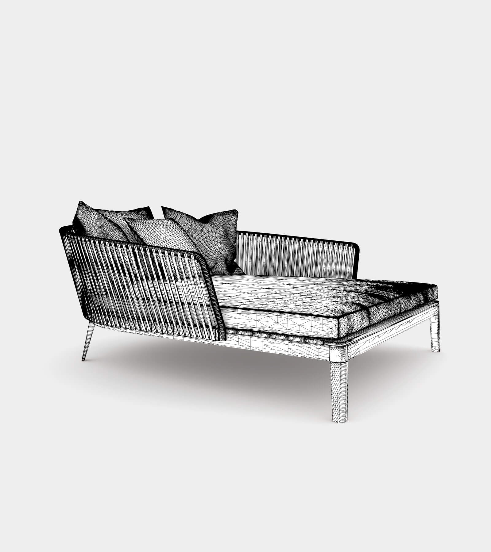 Comfortable daybed for outside-wire-1 3D Model