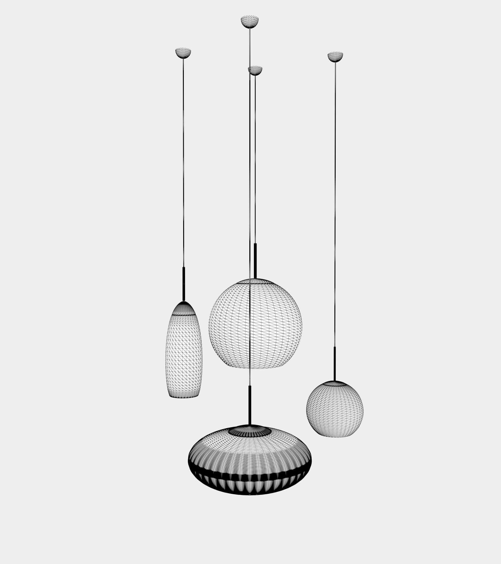 Copper round pendant lamp set-wire-1 3D Model