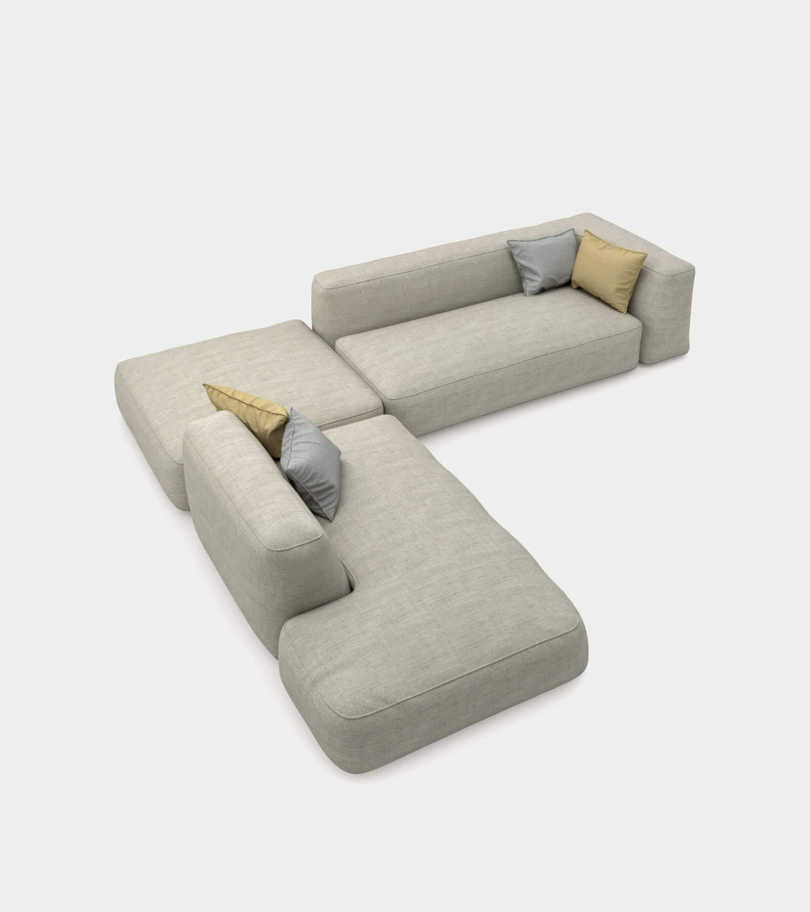 Cozy couch with round edges 2 3D Model
