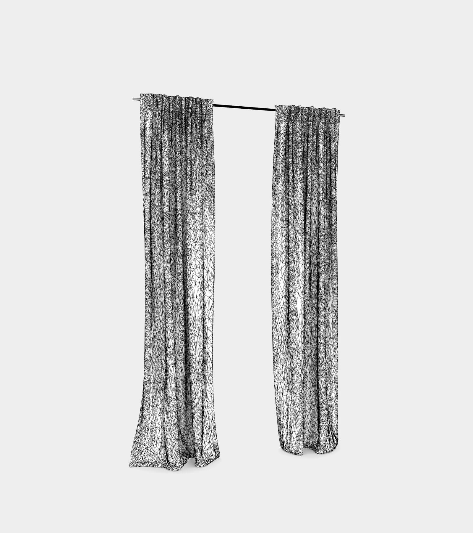 Curtain with hooks-wire-1 3D Model