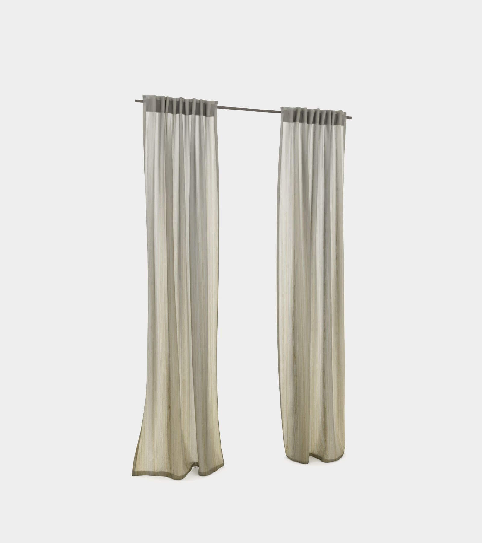 Curtain with hooks 3D Model
