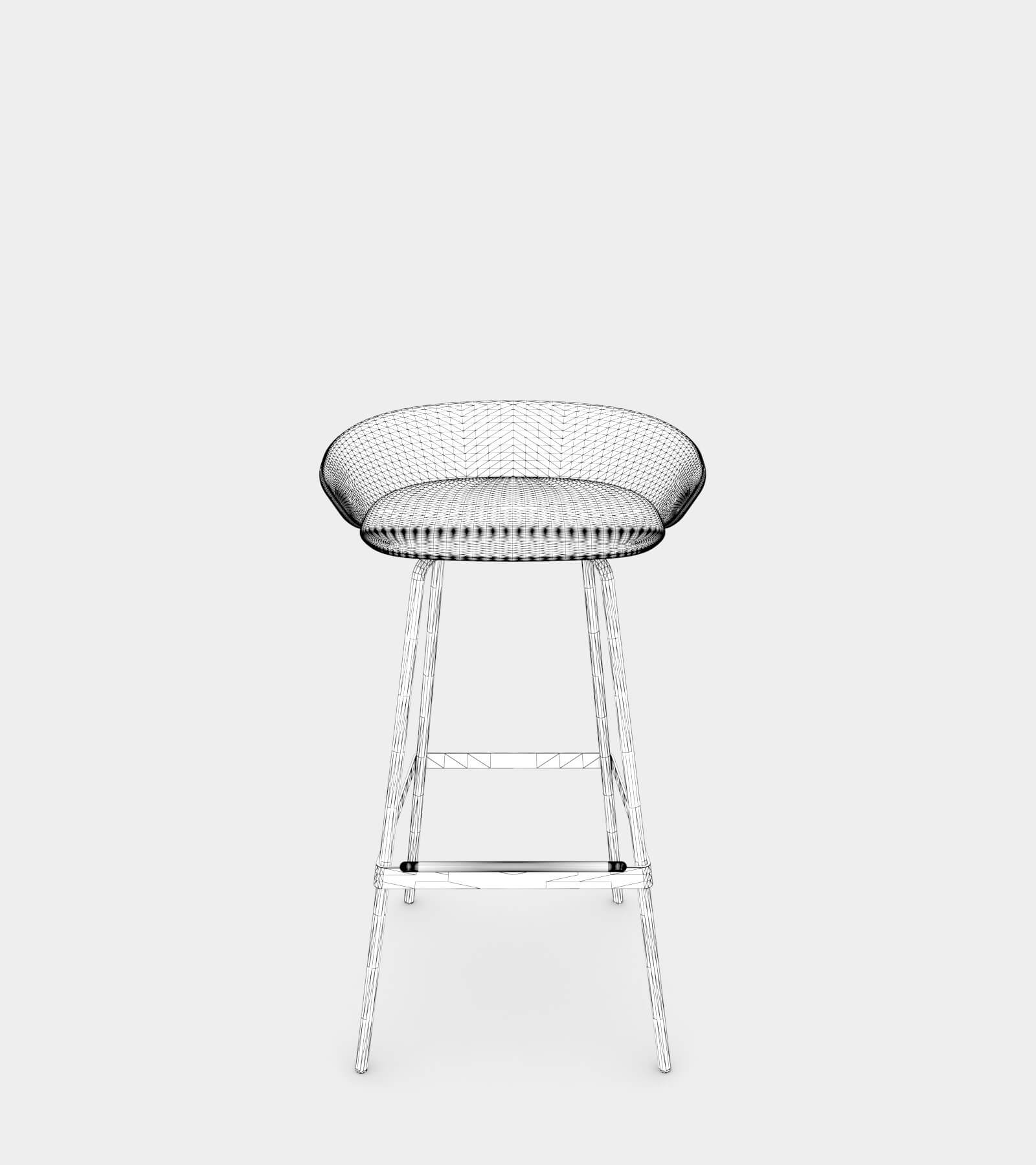 Fabric stool with armrest-wire-1 3D Model