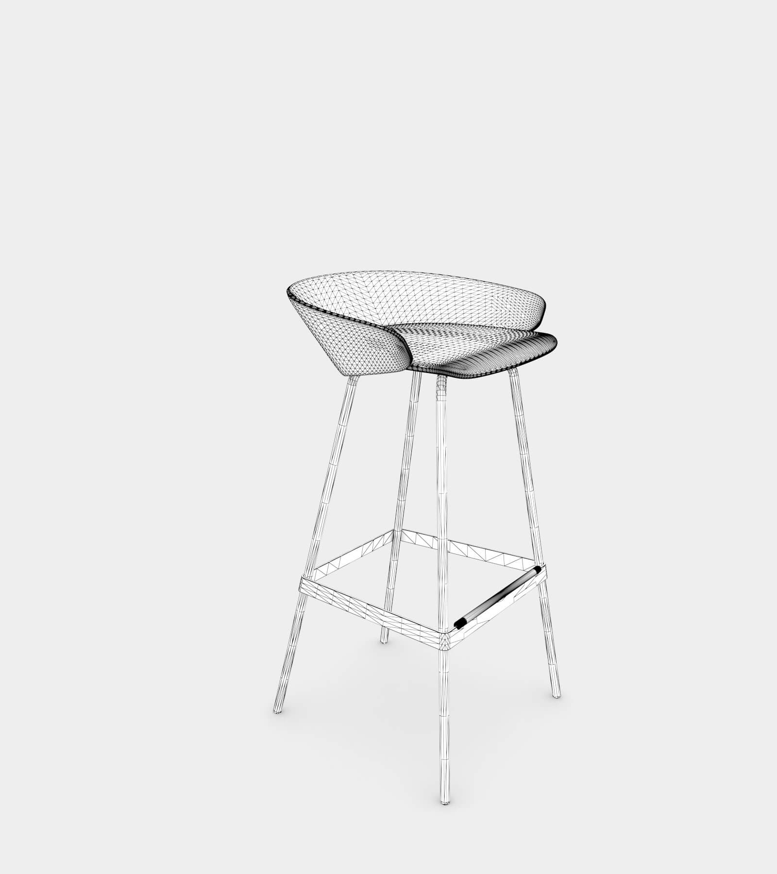 Fabric stool with armrest-wire-2 3D Model