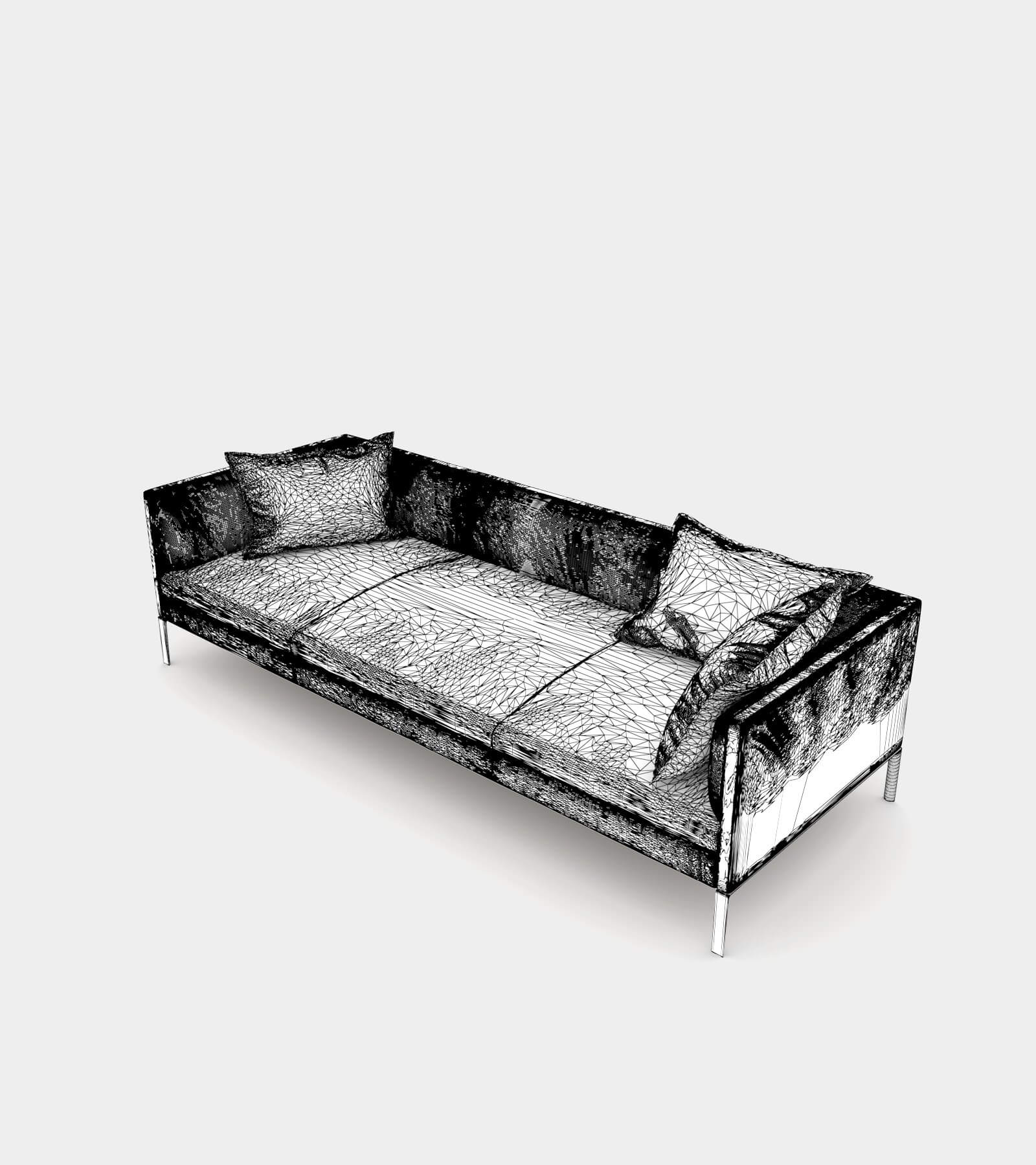 Leather couch with cushions-wire-1 3D Model