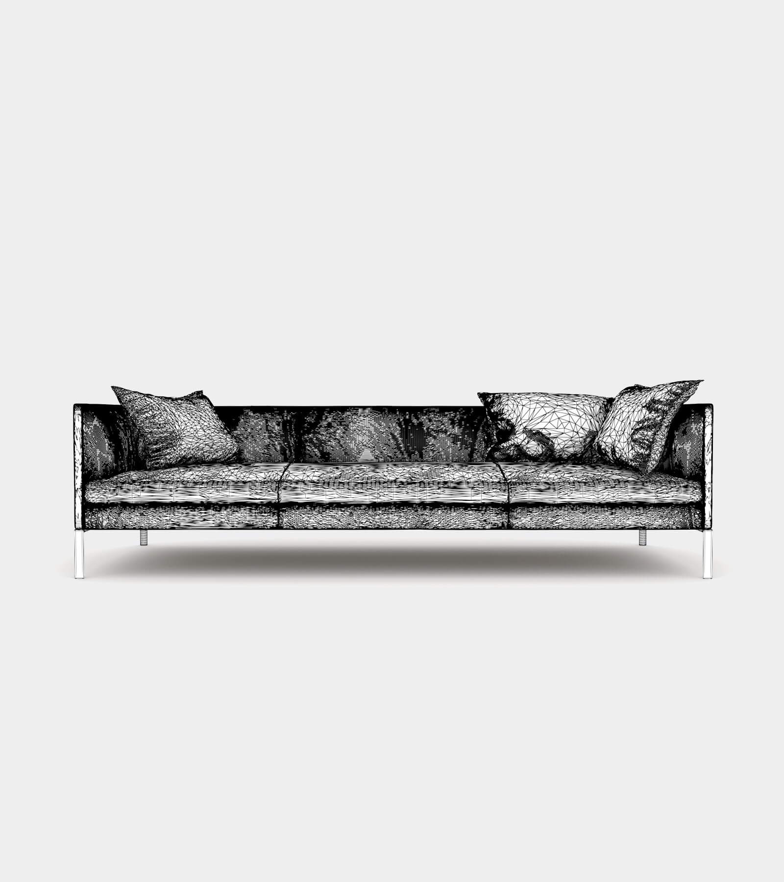 Leather couch with cushions-wire-2 3D Model