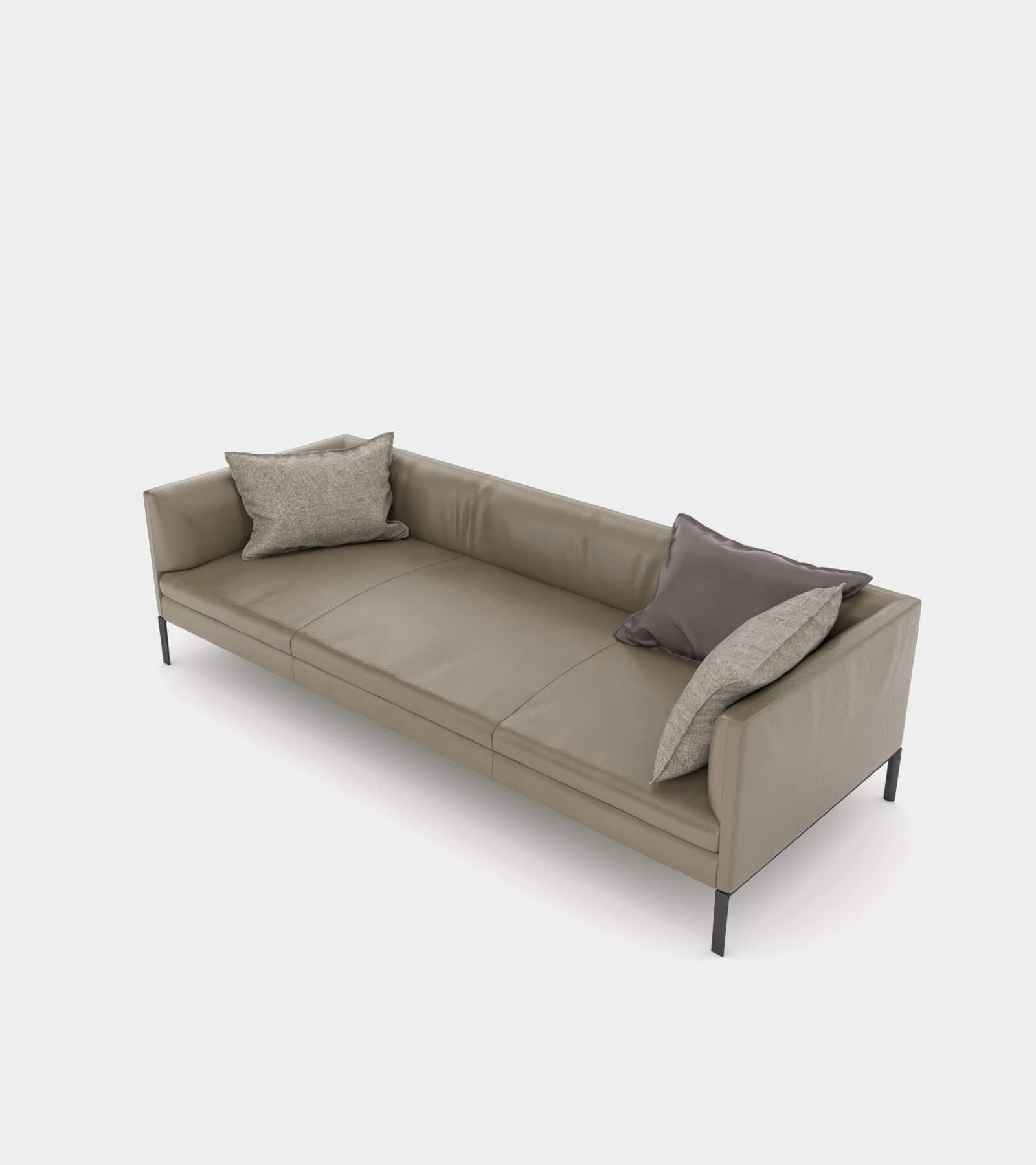 Leather couch with cushions 3D Model