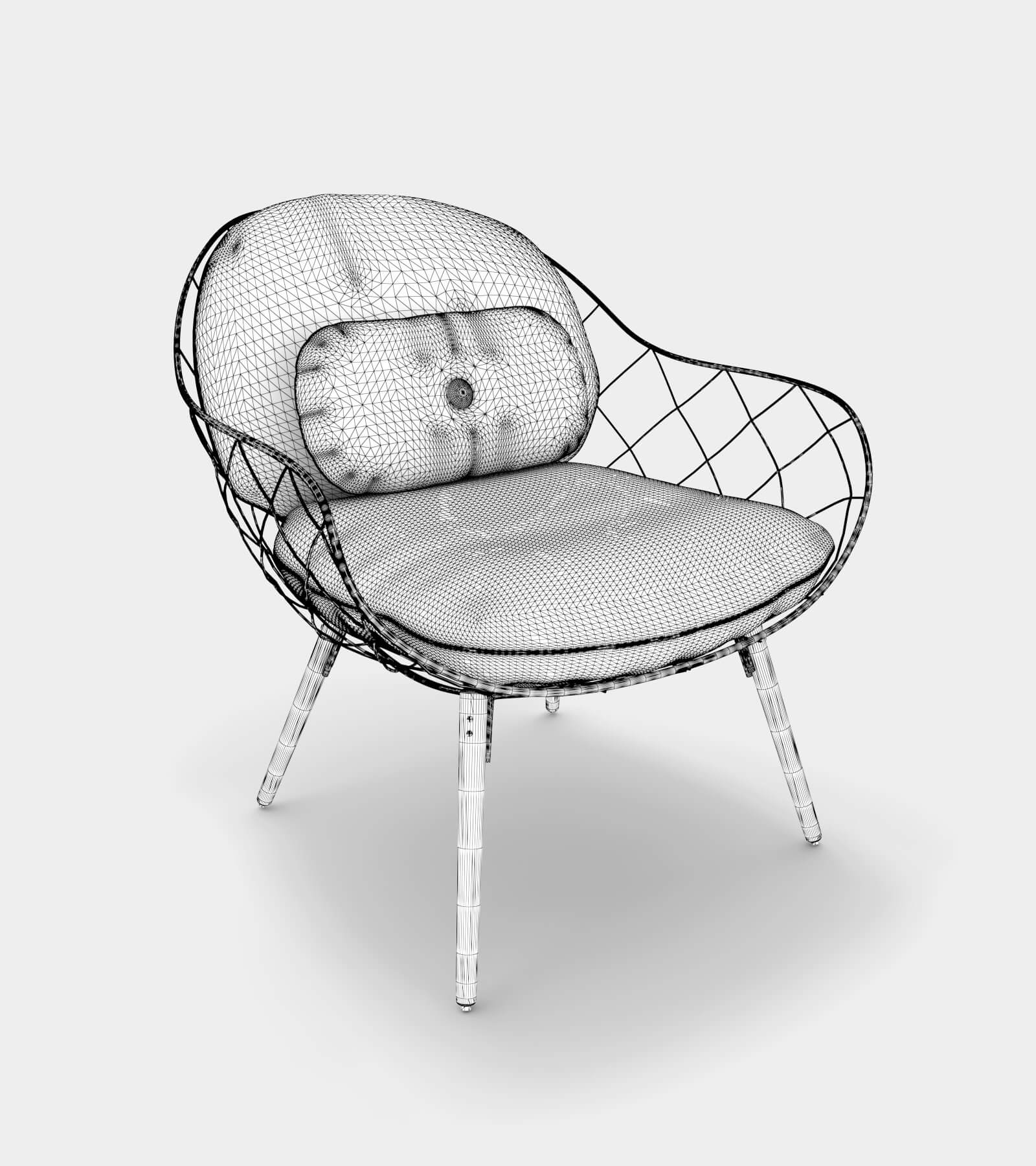 Low armchair & lounge chair-wire-1 3D Model