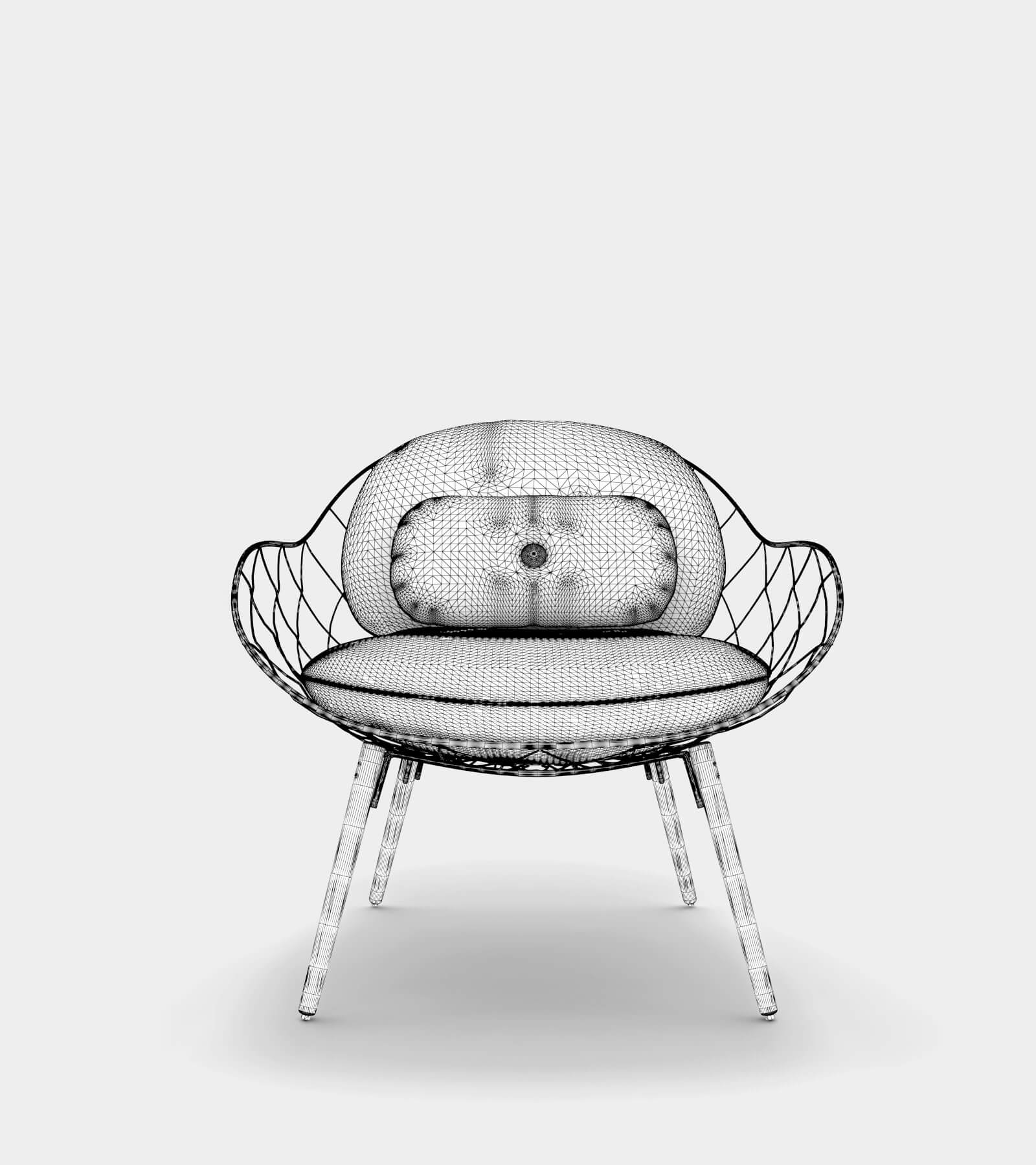 Low armchair & lounge chair-wire-2 3D Model