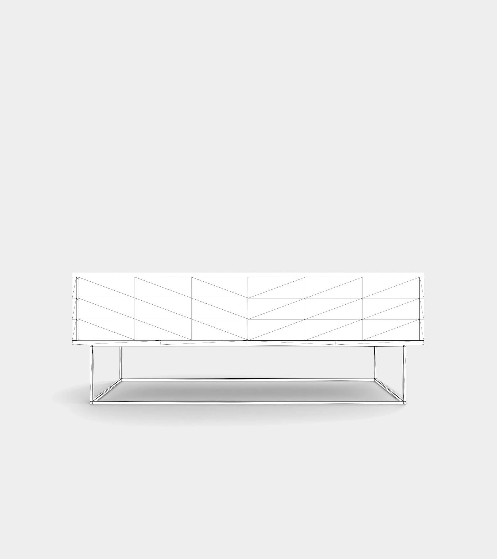 Low sideboard out of wood-wire-1 3D Model