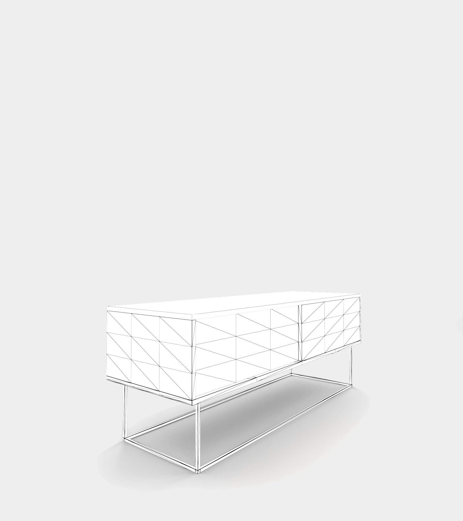 Low sideboard out of wood-wire-2 3D Model