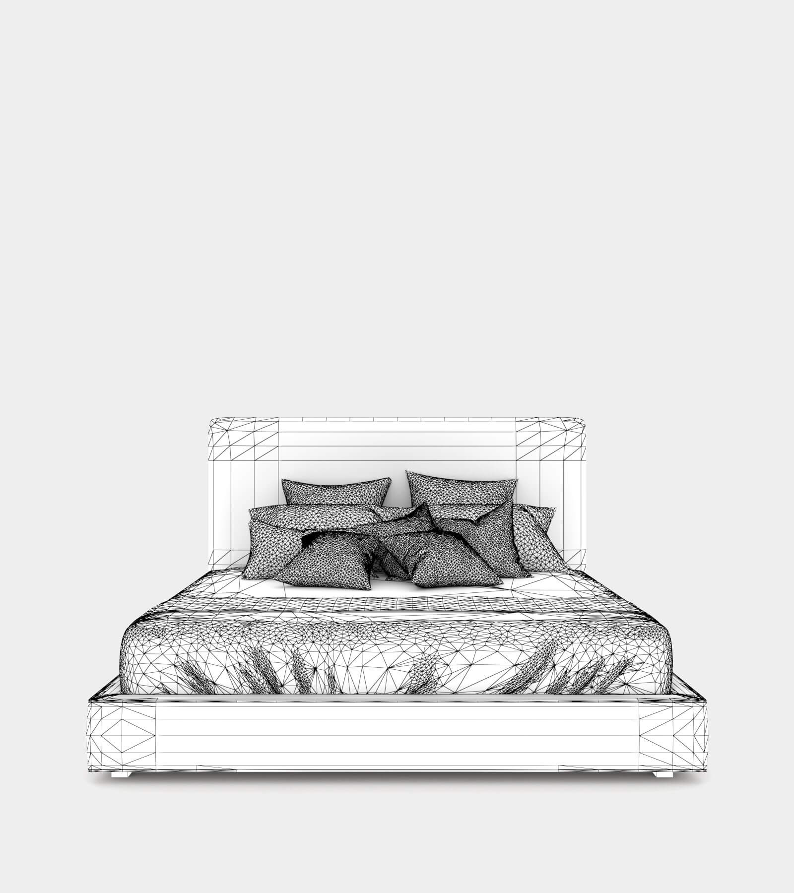 Modern double bed with a bed head-wire-2 3D Model