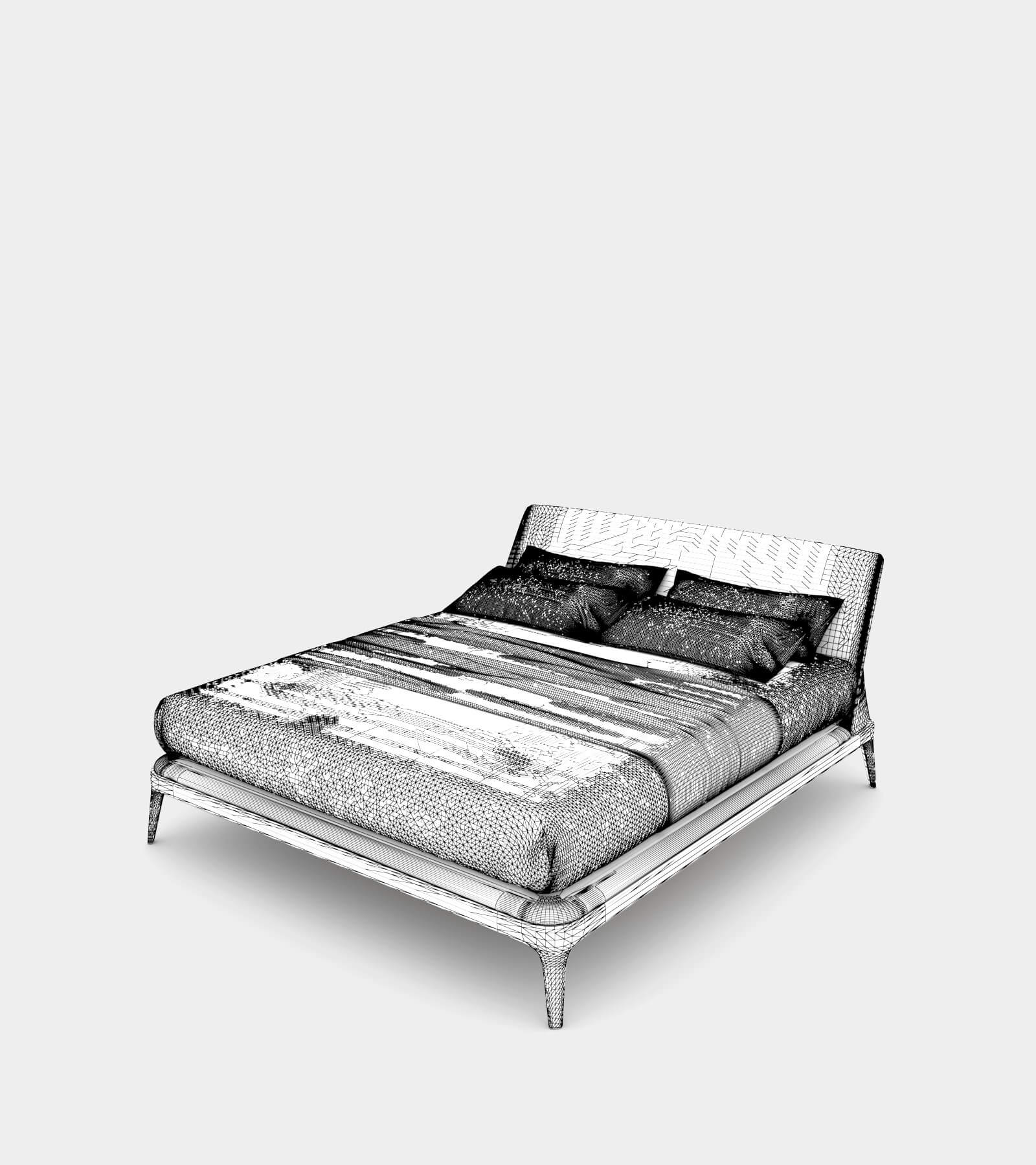 Modern double bed with bedhead-wire-1 3D Model