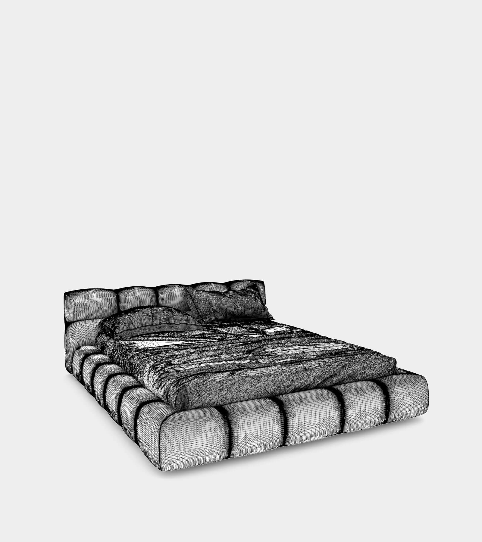 Modern leather bed-wire-1 3D Model