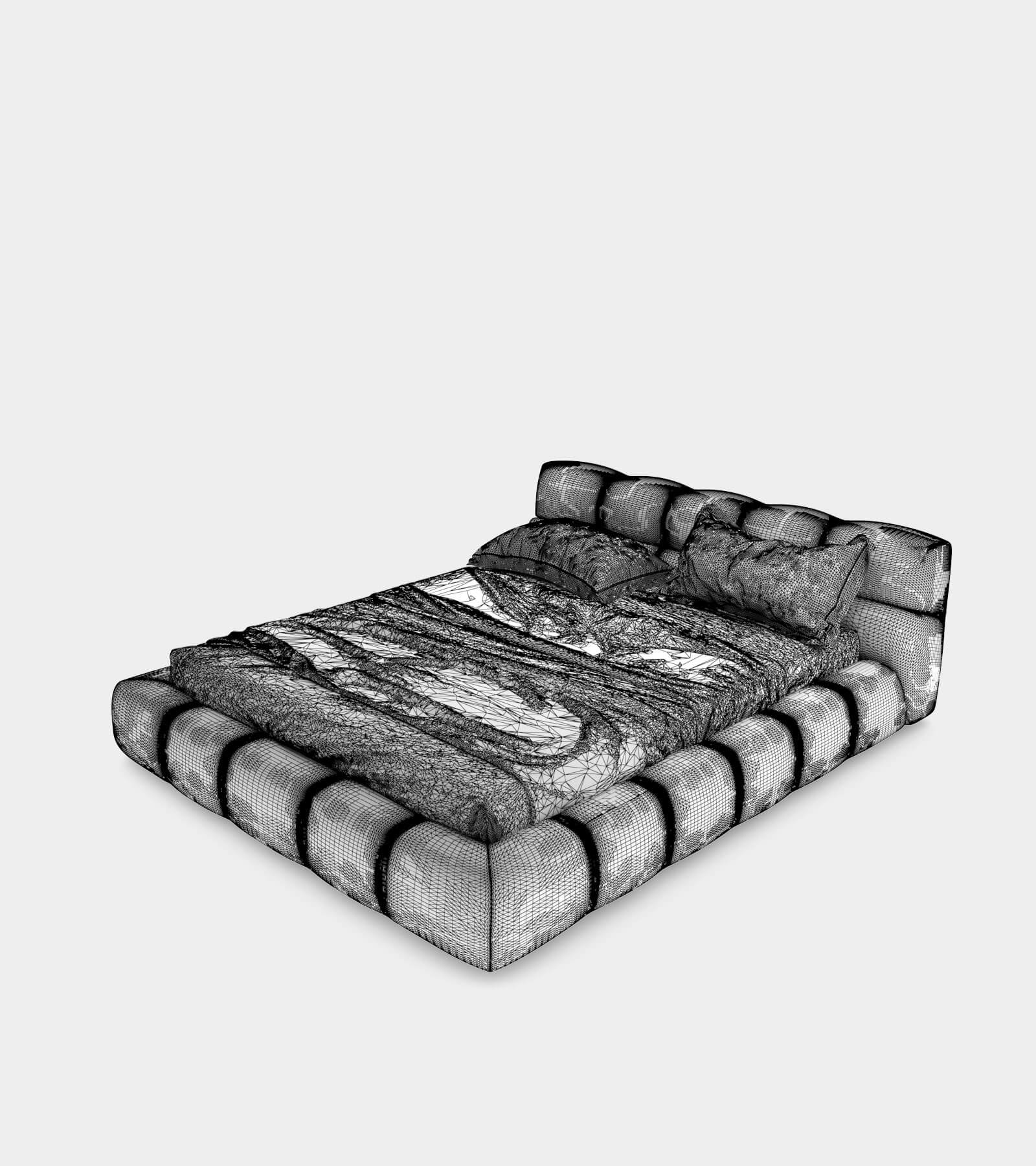 Modern leather bed-wire-2 3D Model