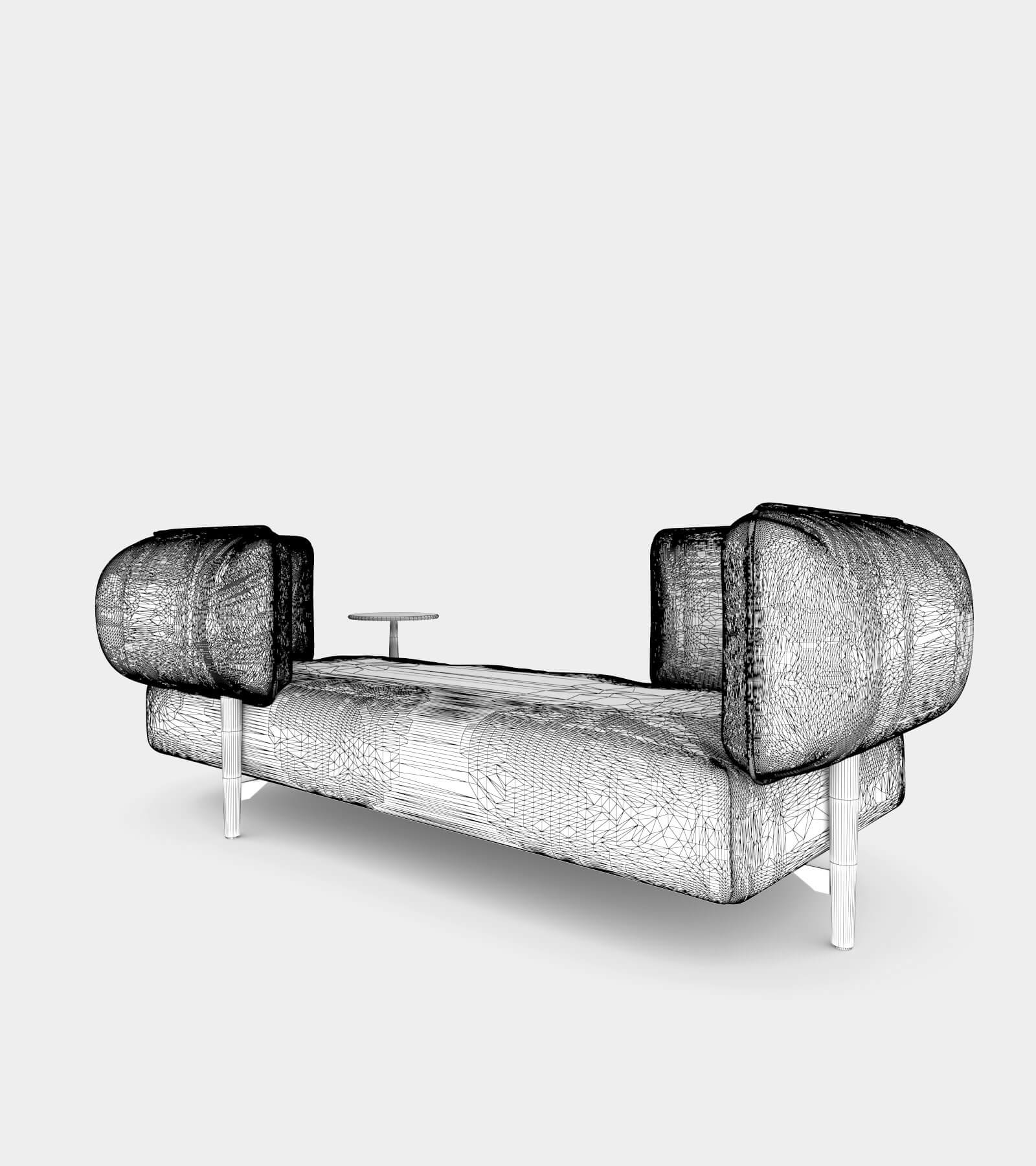 Modular fabric seat bench-wire-2 3D Model