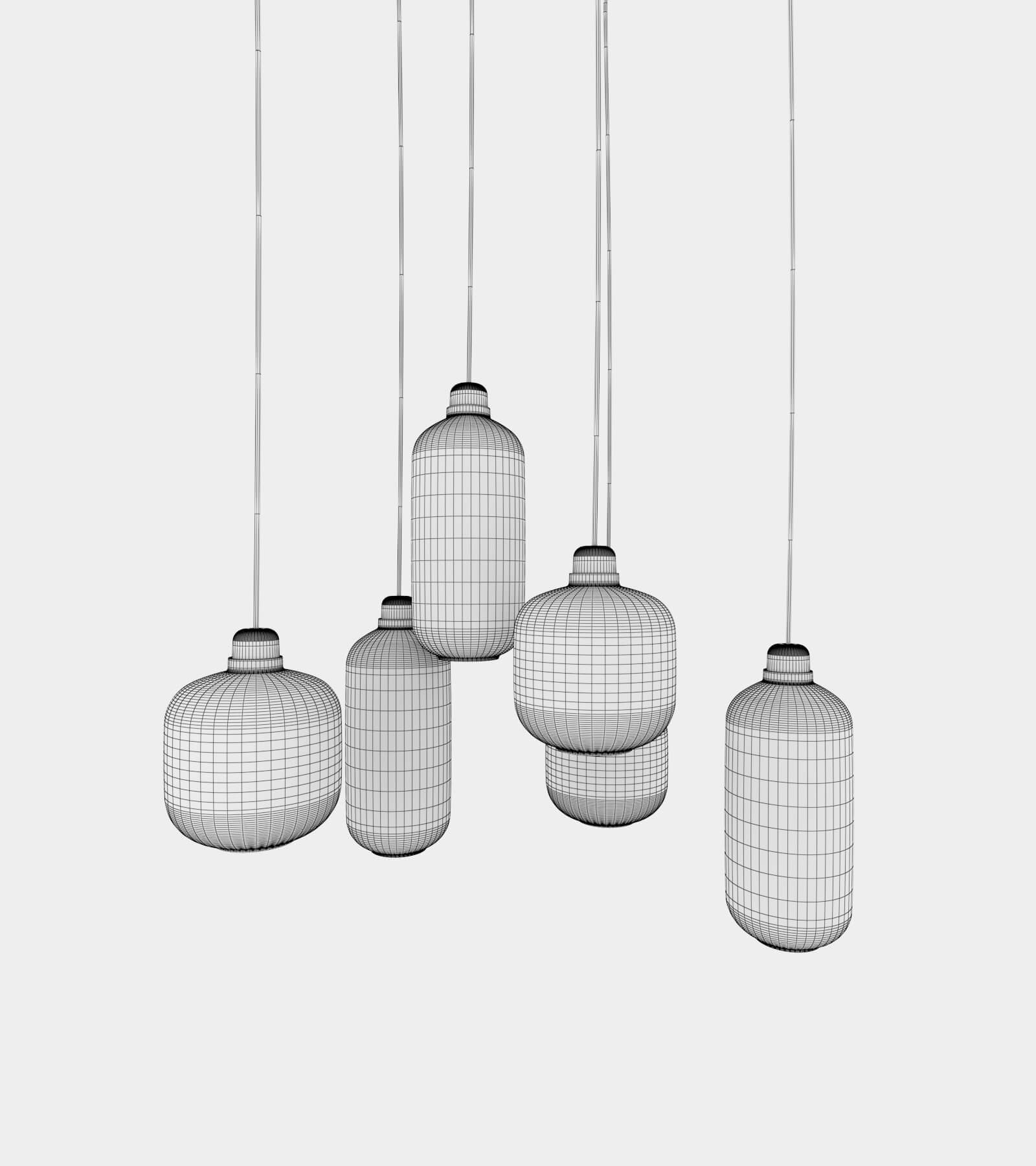 Retro round ceiling lamp set-wire-1 3D Model