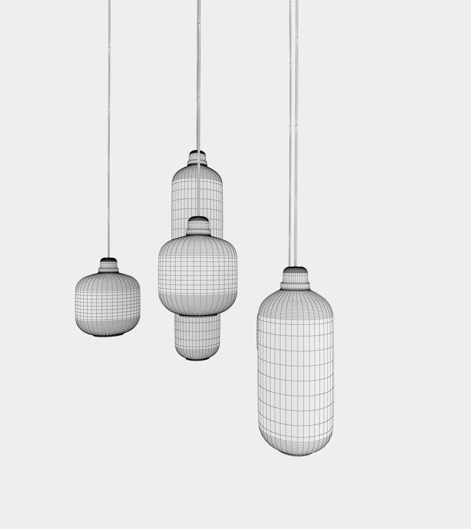 Retro round ceiling lamp set-wire-2 3D Model