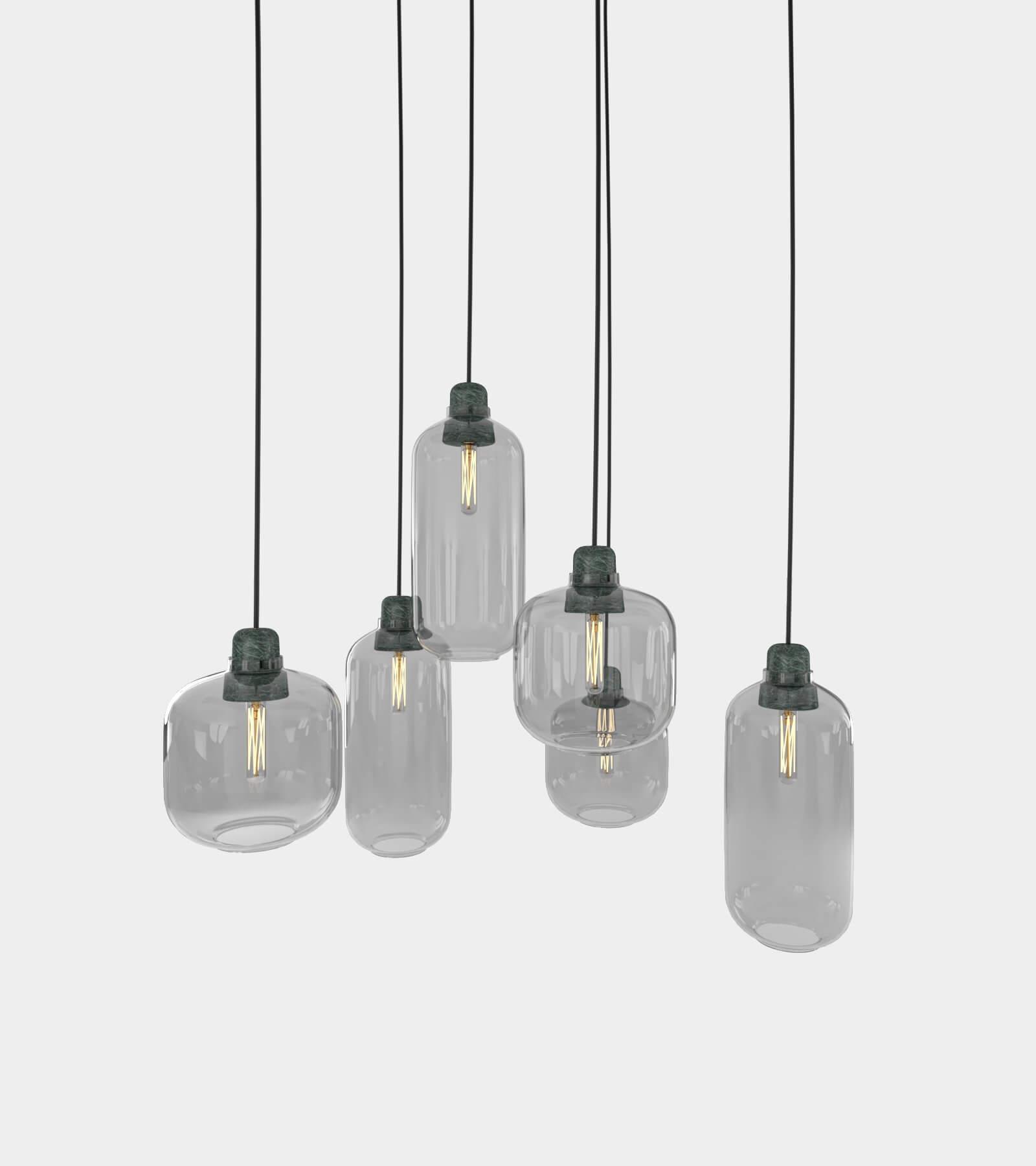 Retro round ceiling lamp set 3D Model