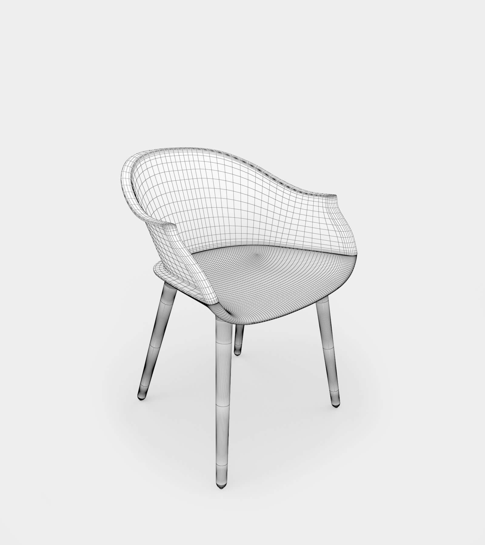 Round armchair & dining chair-wire-1 3D Model