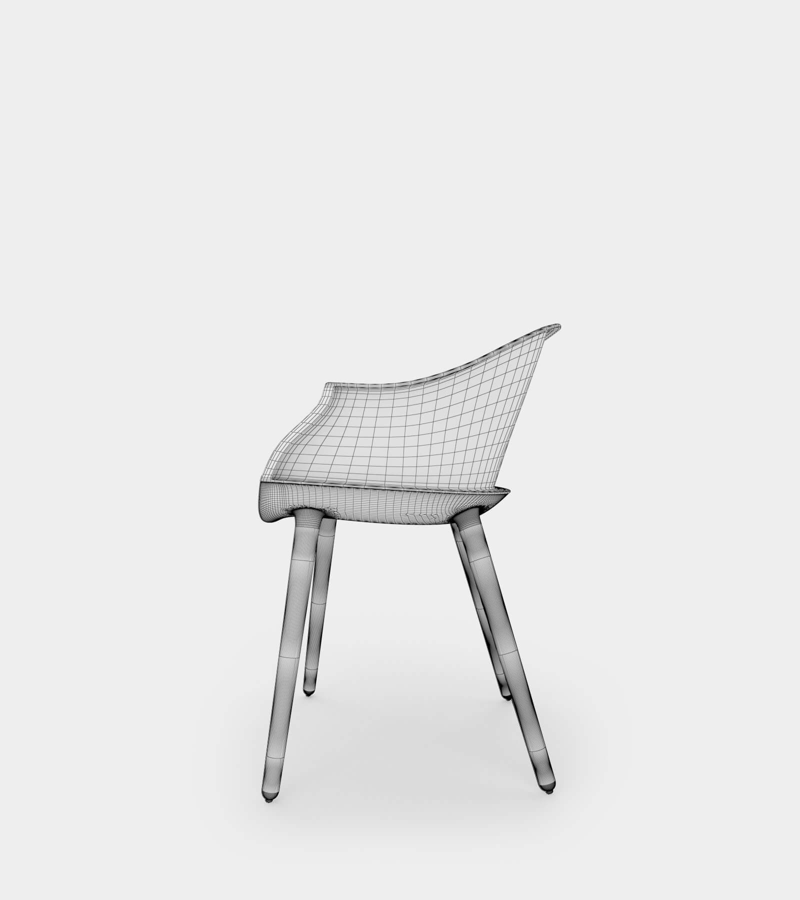 Round armchair & dining chair-wire-2 3D Model