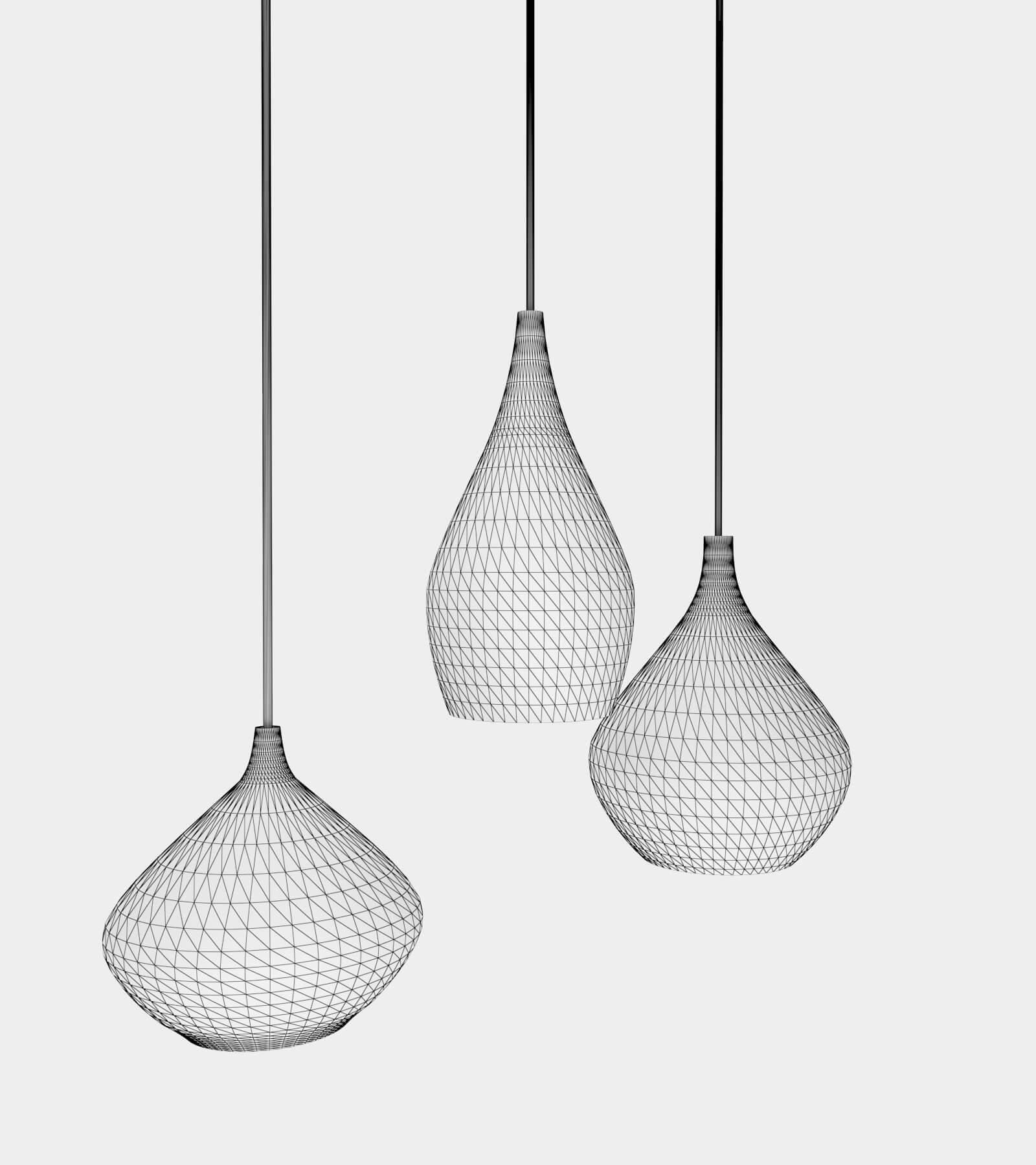 Round glass pendant light-wire-1 3D Model