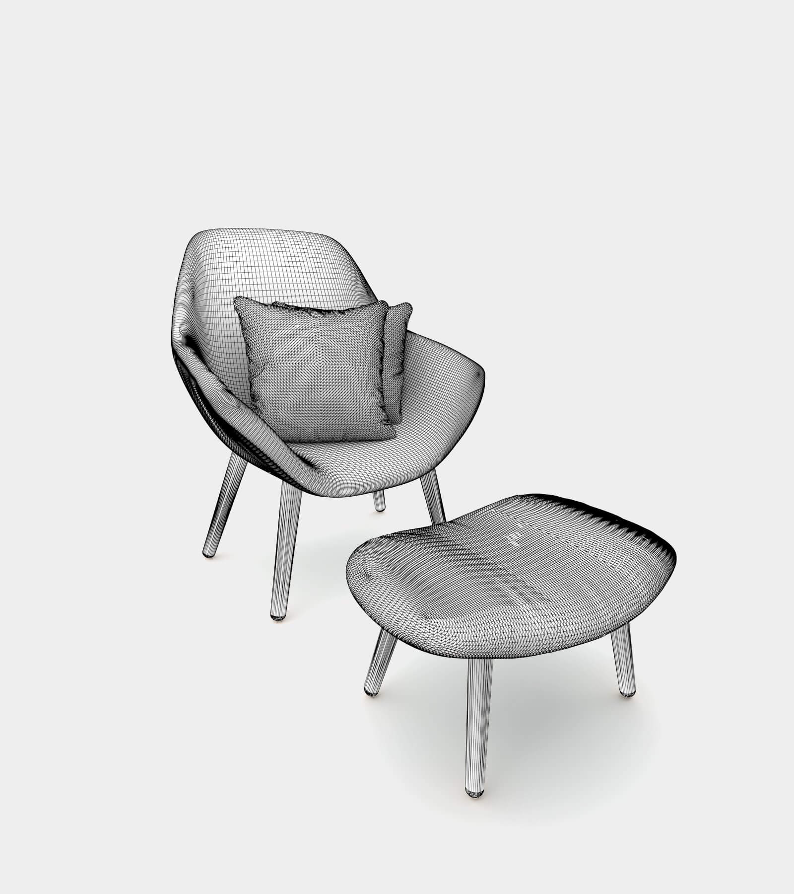 Seater with ottoman and cushion with pattern-wire 3D Model