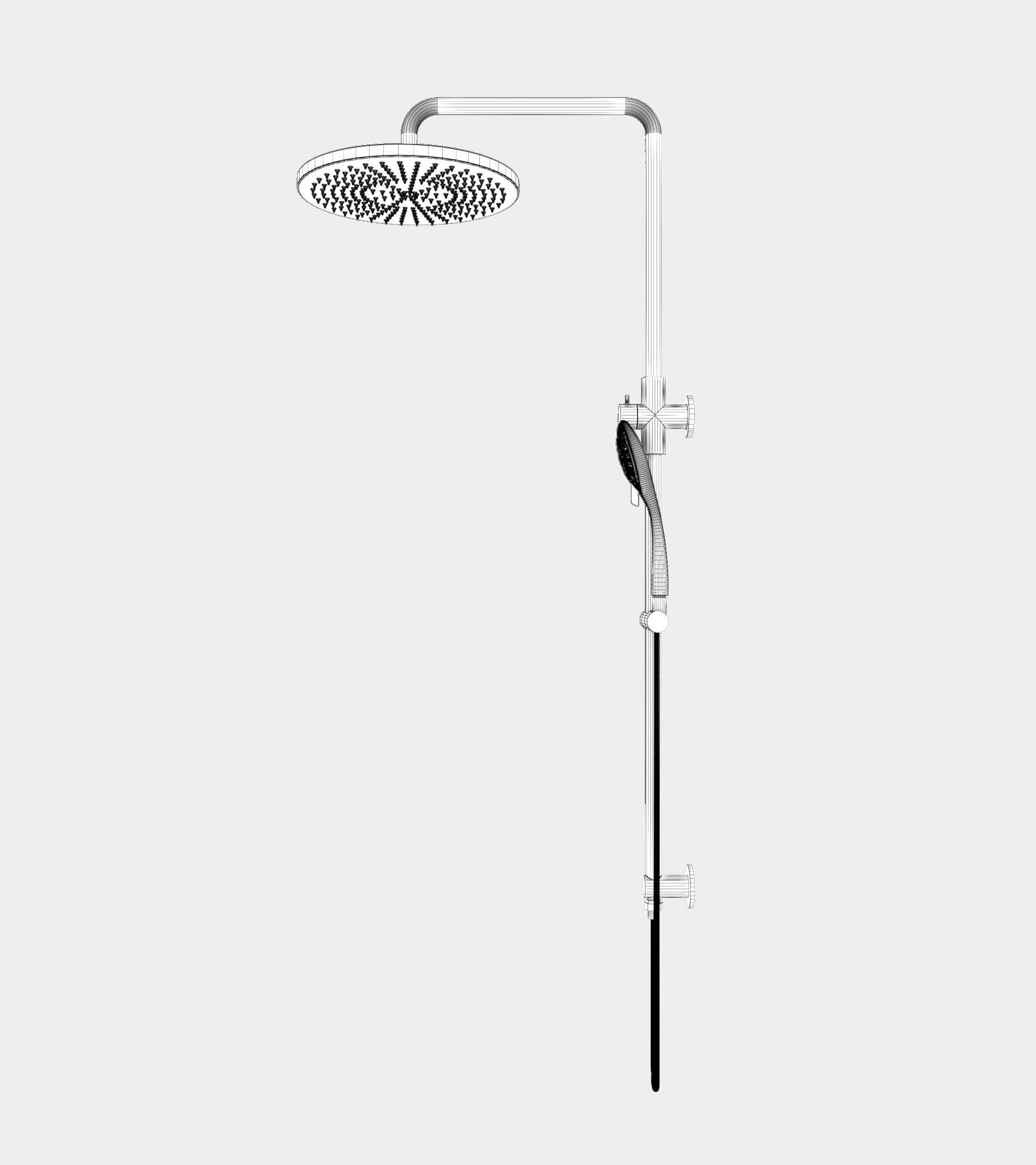 Shower set black for wall installation-wire-22 3D Model