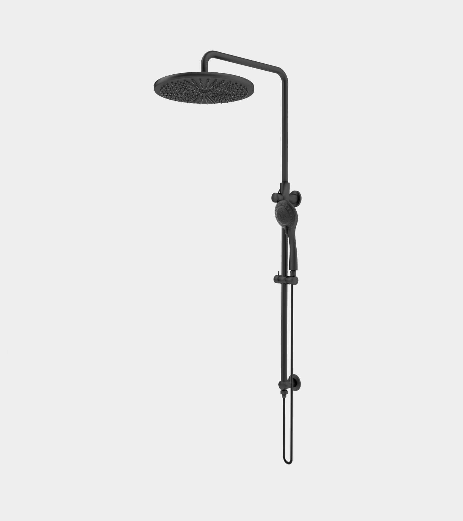 Shower set black for wall installation 3D Model