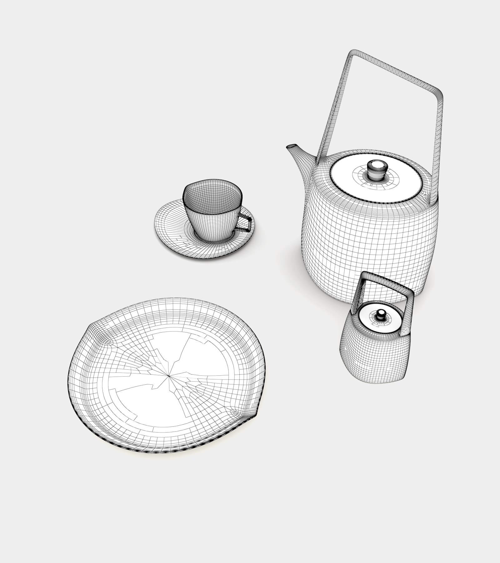 Tea set with teapot and cup-wire-2 3D Model