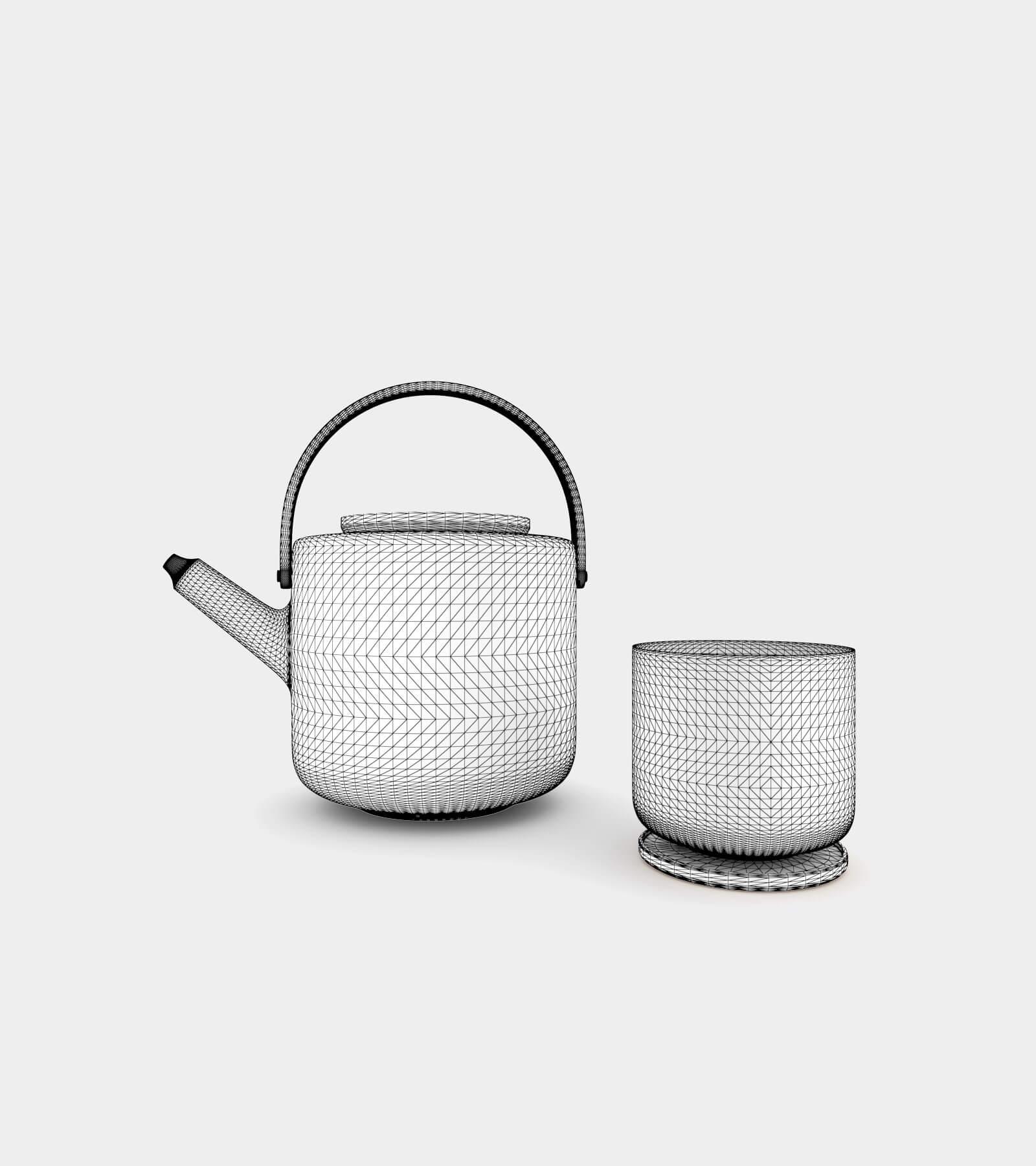 Teapot & tea mug-wire-1 3D Model