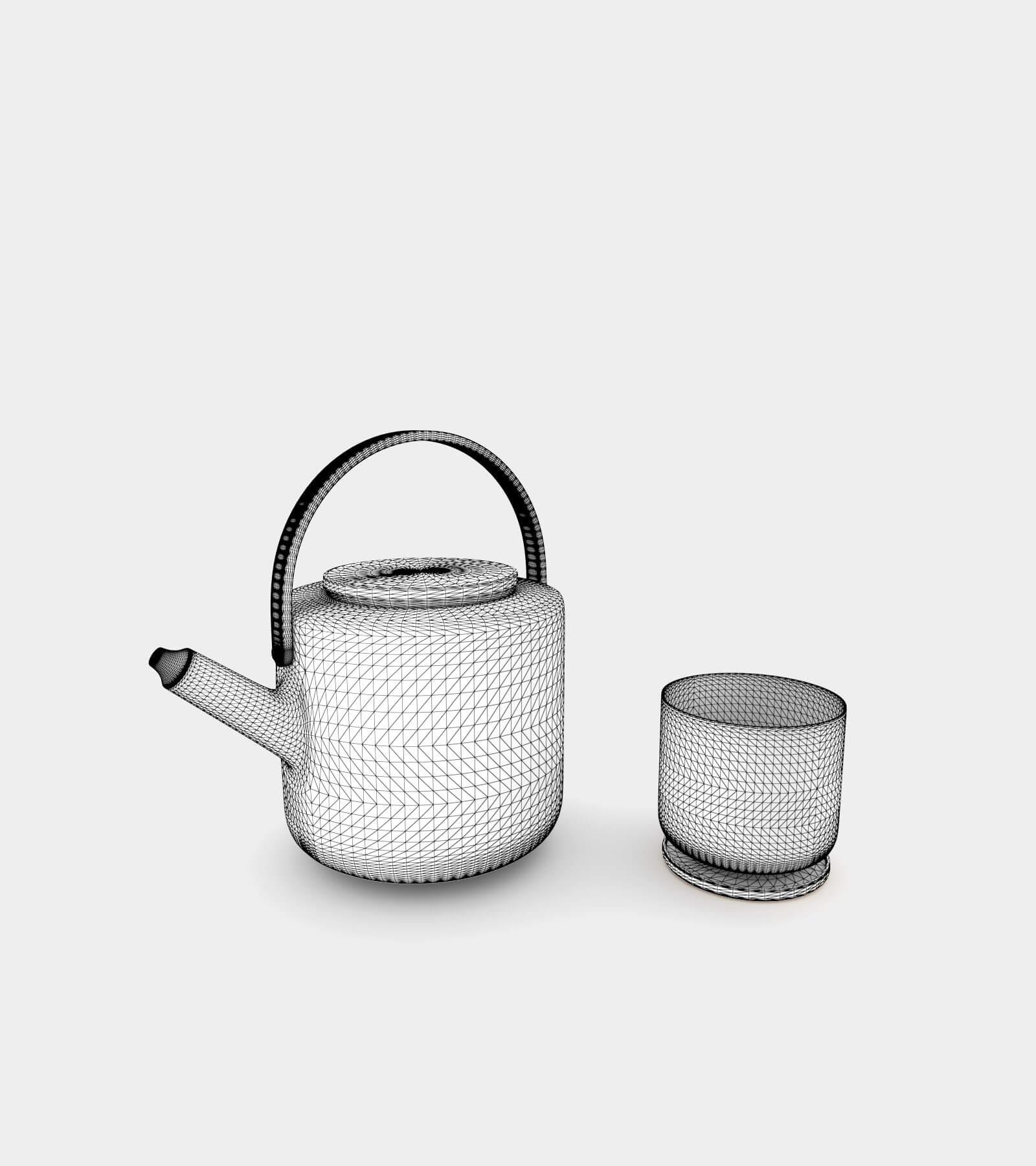 Teapot & tea mug-wire-2 3D Model