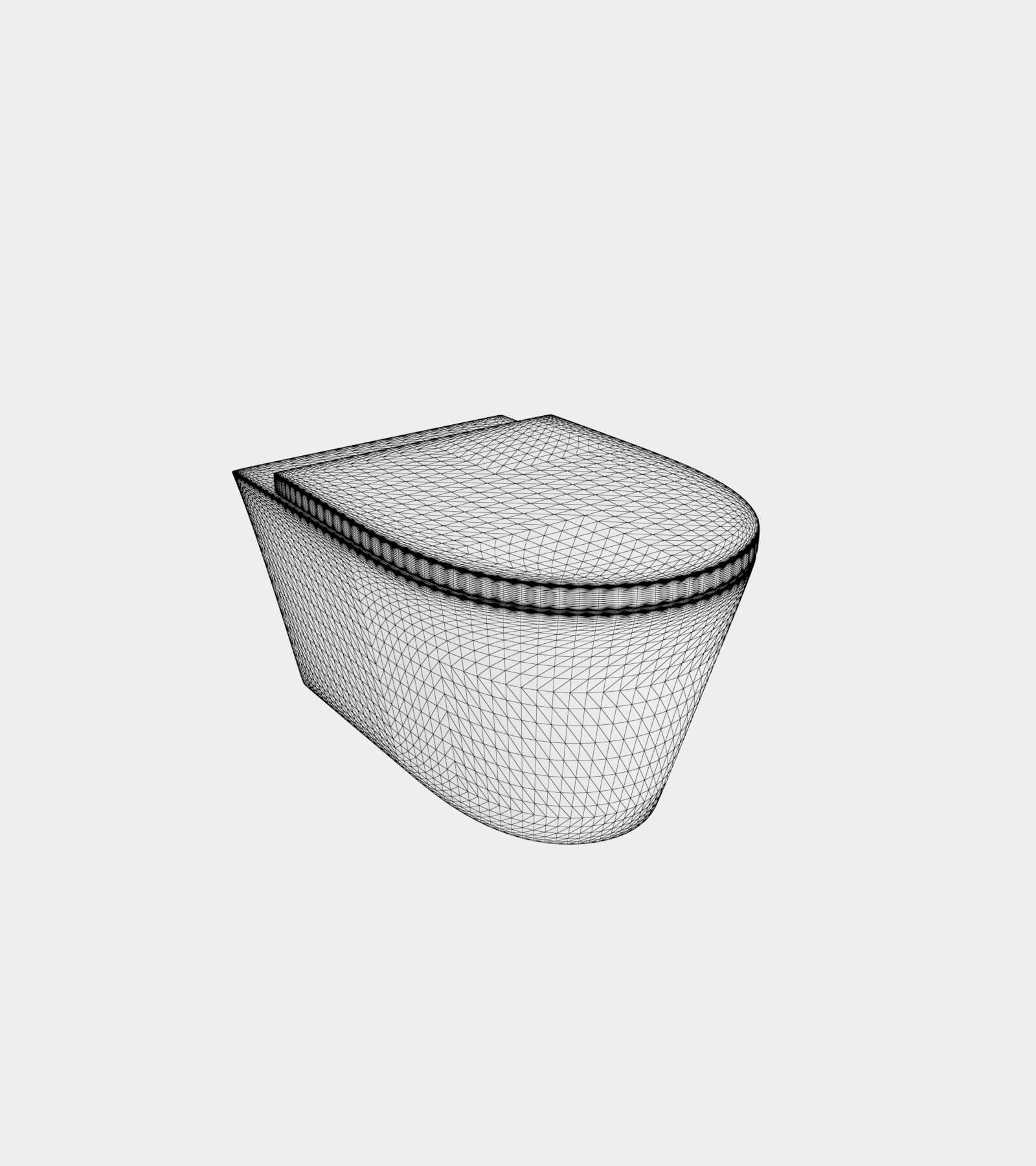 Wall mounted wc pan-wire-1 3D Model
