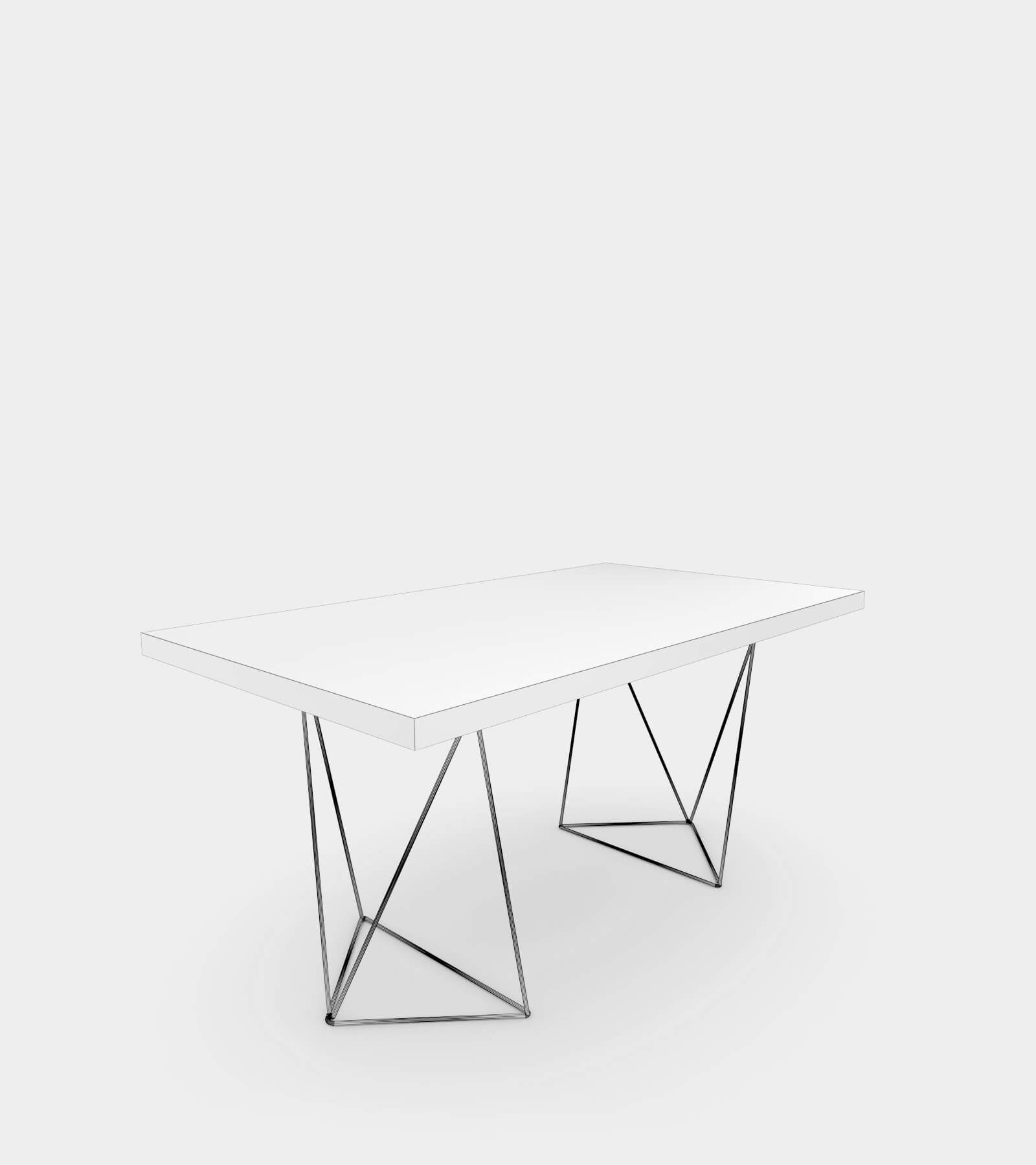 Walnut dining table with chrome legs-wire-1 3D Model