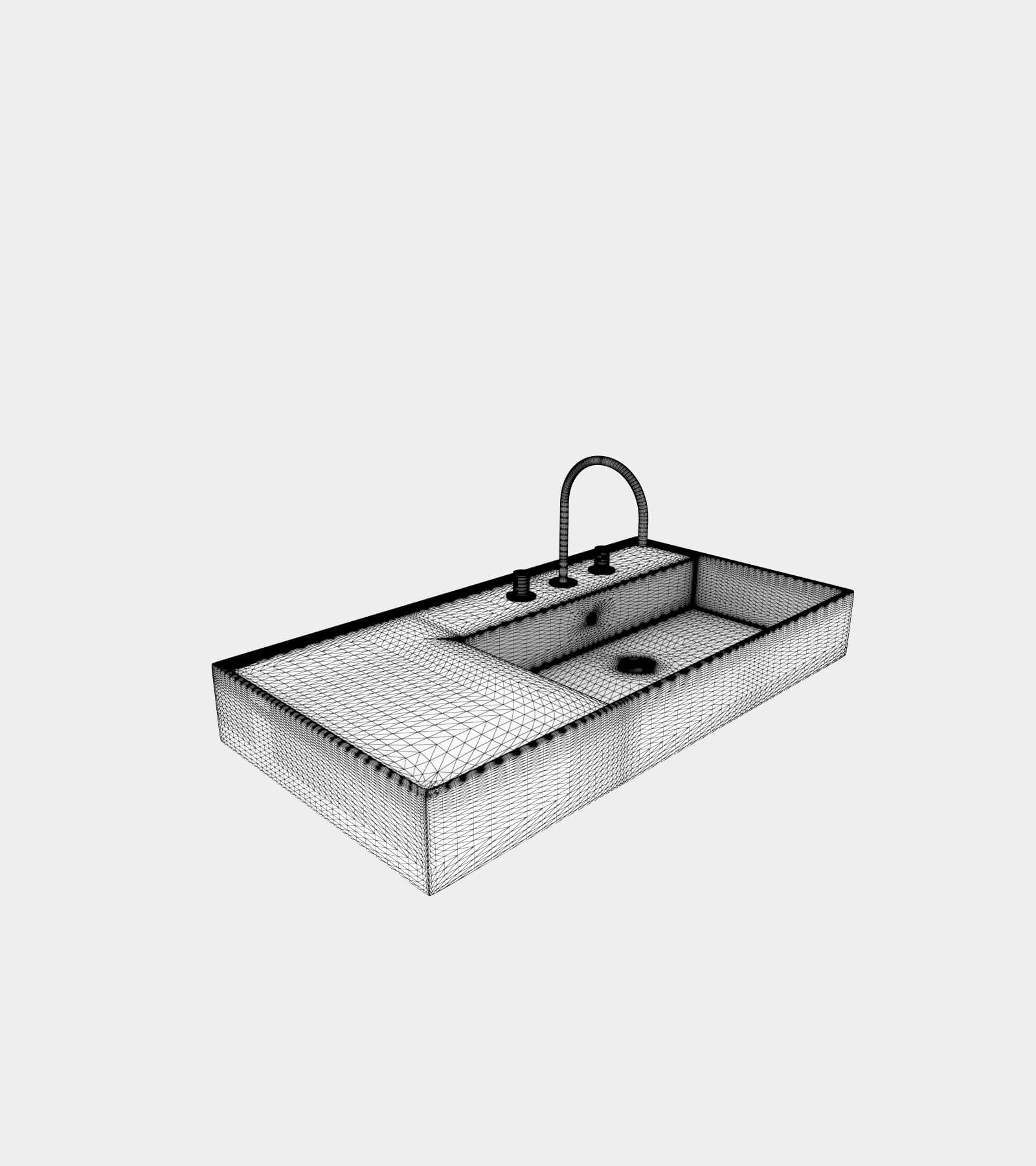Washbasin with faucet-wire-2 3D Model