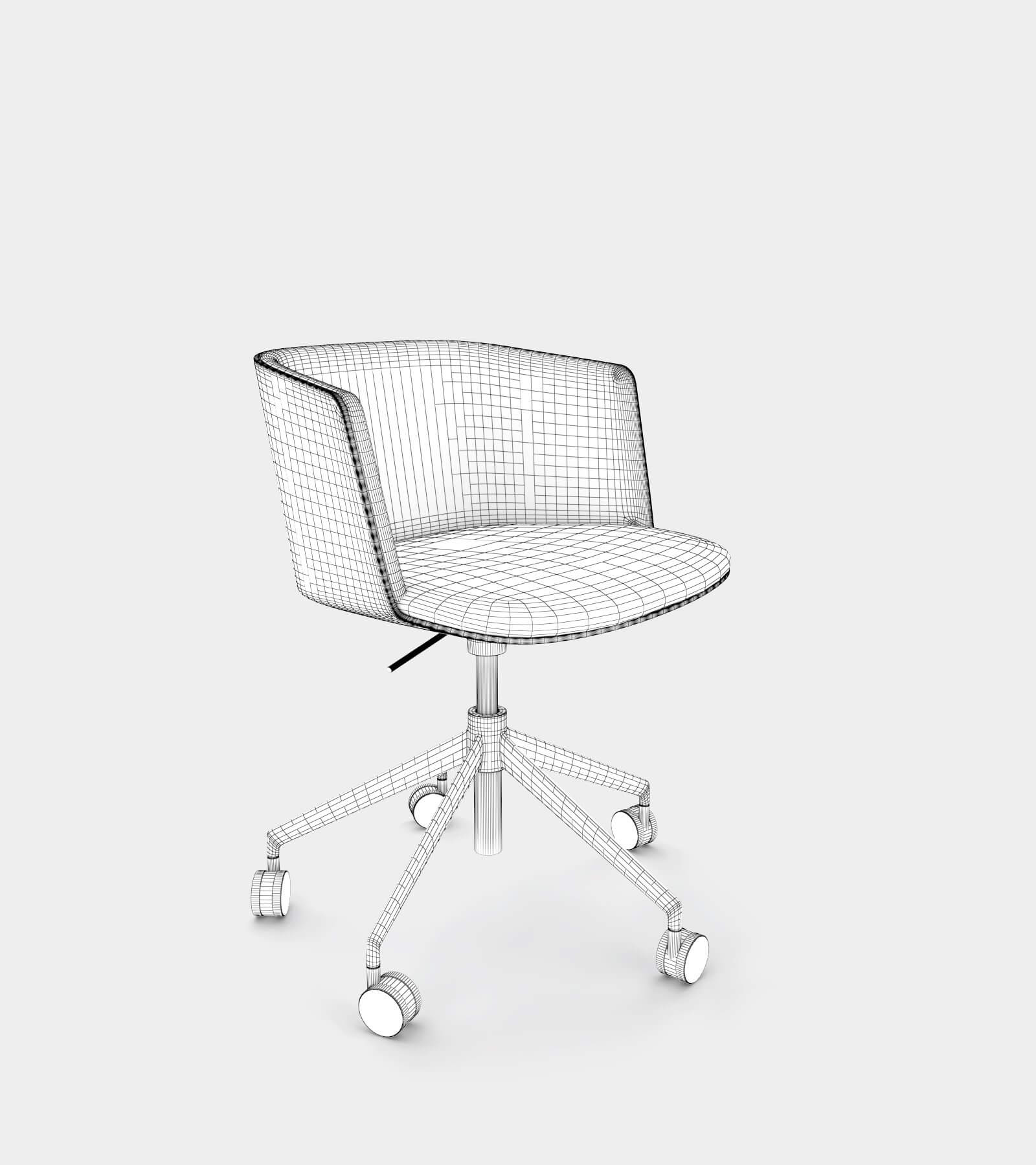Wheel chair with fabric seat-wire-1 3D Model
